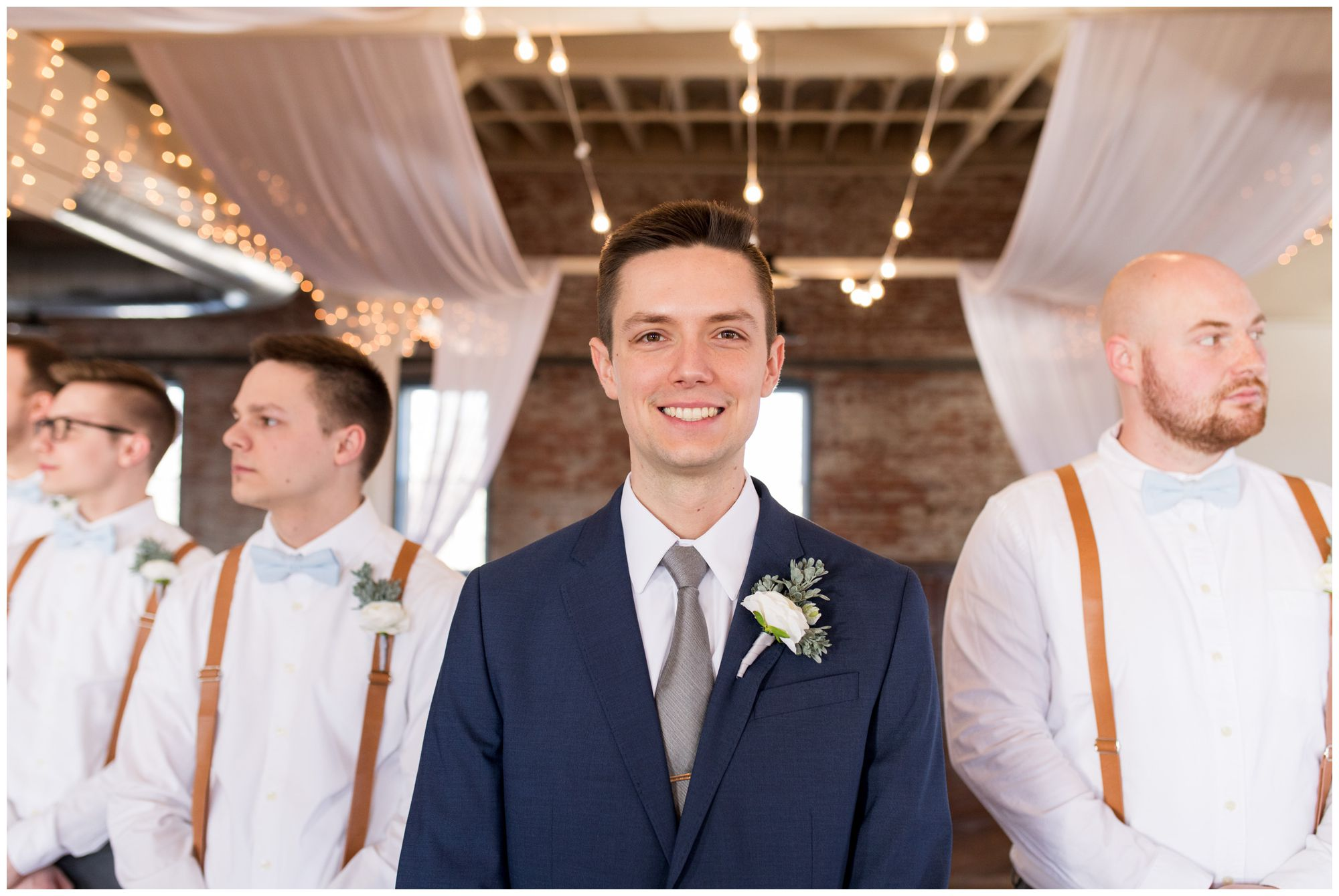 groom and groomsmen portraits before wedding ceremony at Bread & Chocolate