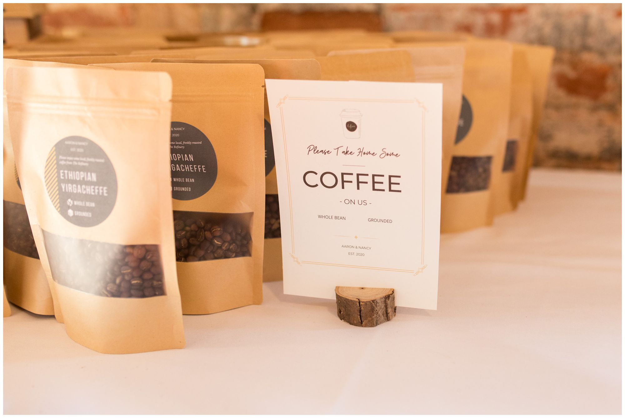 roasted coffee beans and ground coffee wedding favors in Goshen Indiana