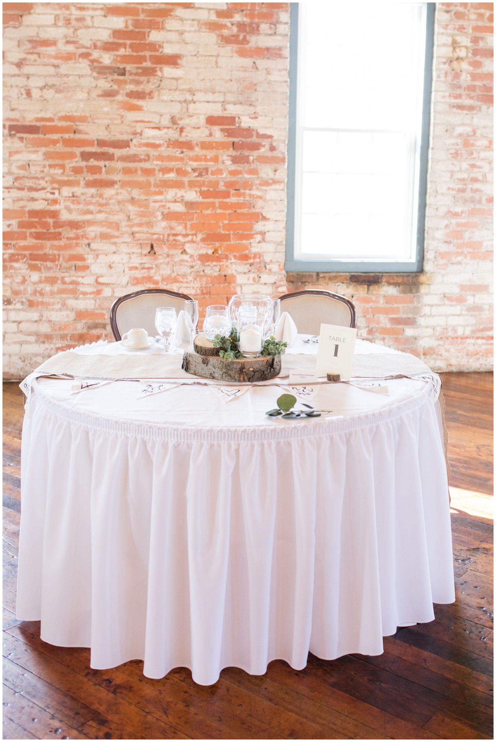 Bread & Chocolate industrial wedding reception sweetheart table