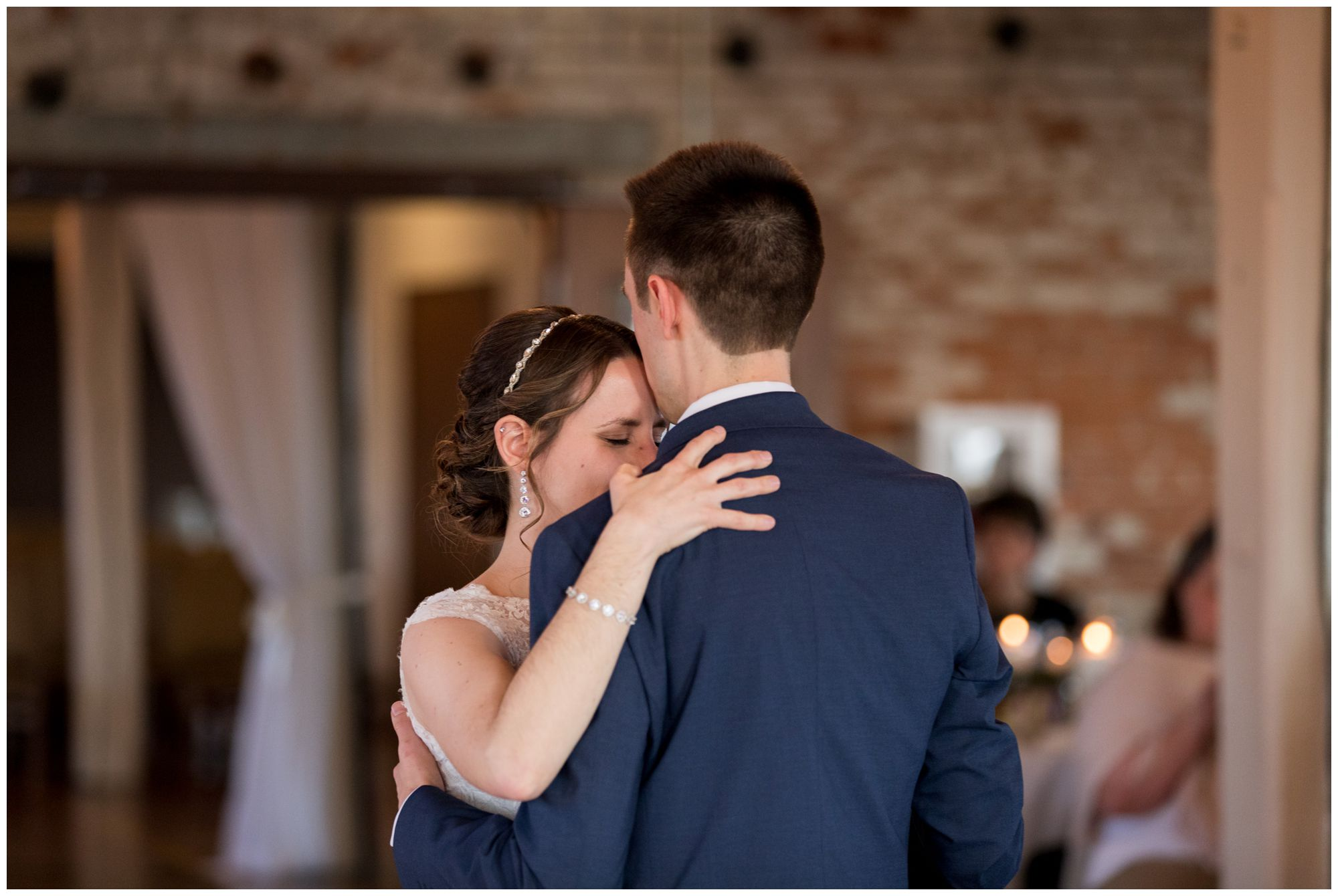 bride and groom first dance during Goshen wedding reception