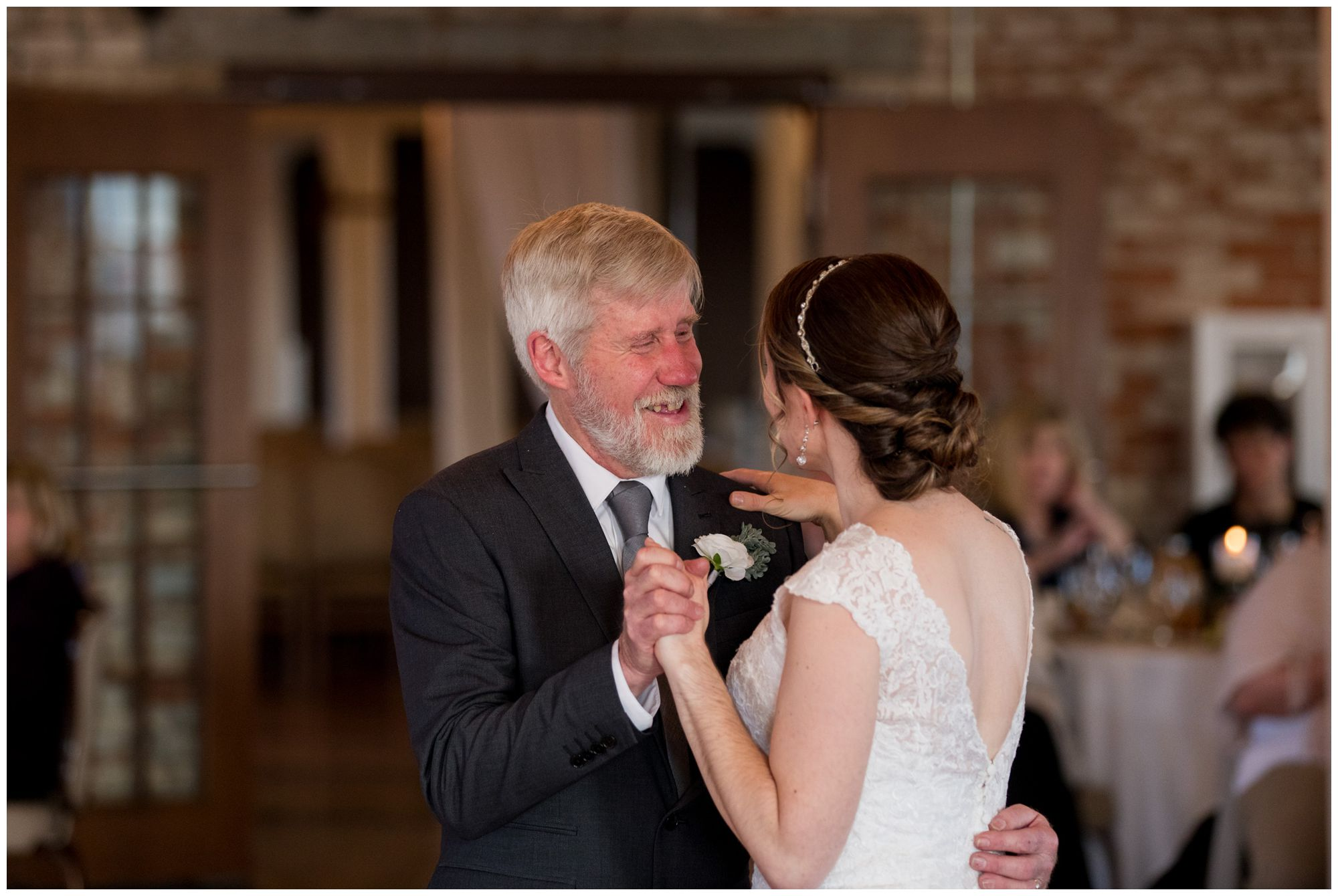 bride and father of bride dance during Goshen Indiana wedding reception