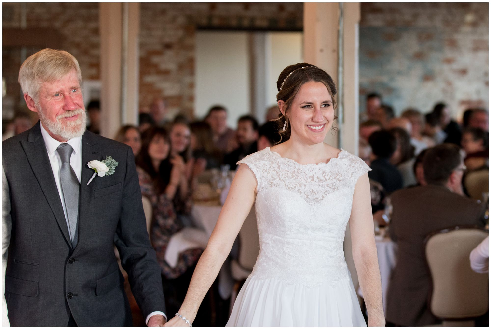 bride and father hold hands at Bread & Chocolate