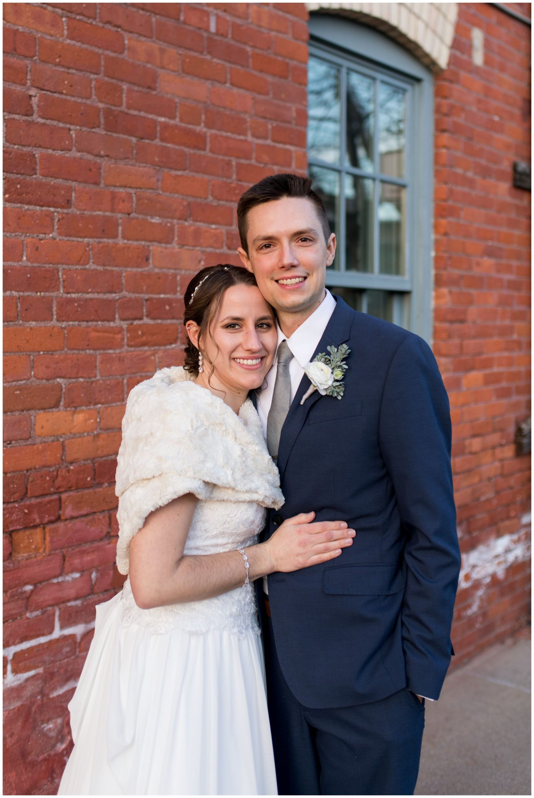 Goshen Indiana bride and groom wedding photos at Old Bag Factory
