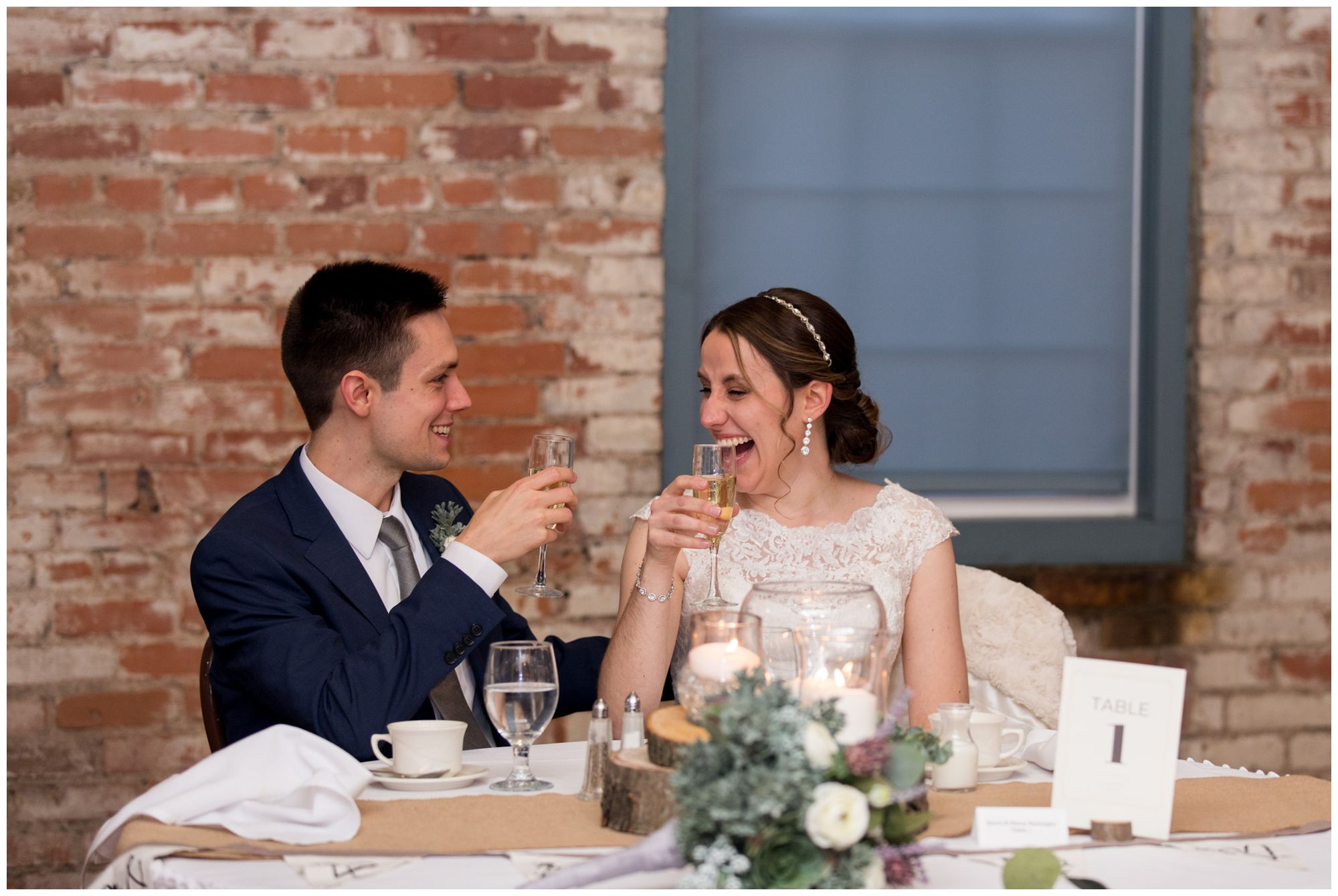 bride and groom toast during wedding reception speeches at Bread & Chocolate