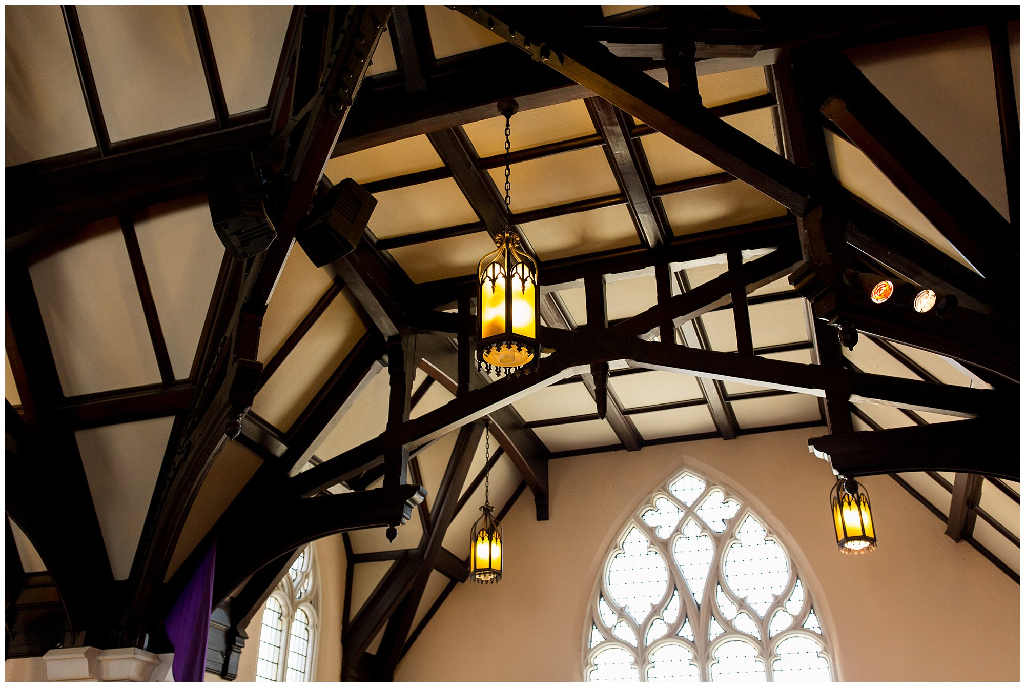 wooden beams in ceiling of sanctuary at Irvington United Methodist Church