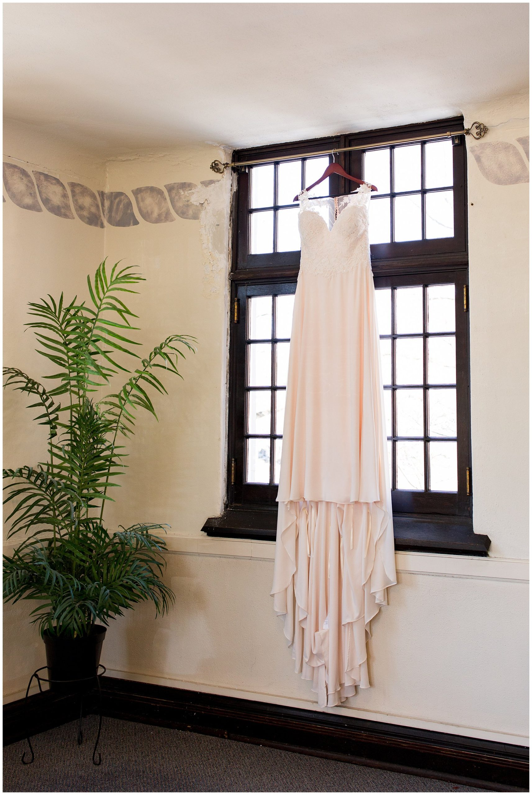 bride's dress in window in downtown Indianapolis church