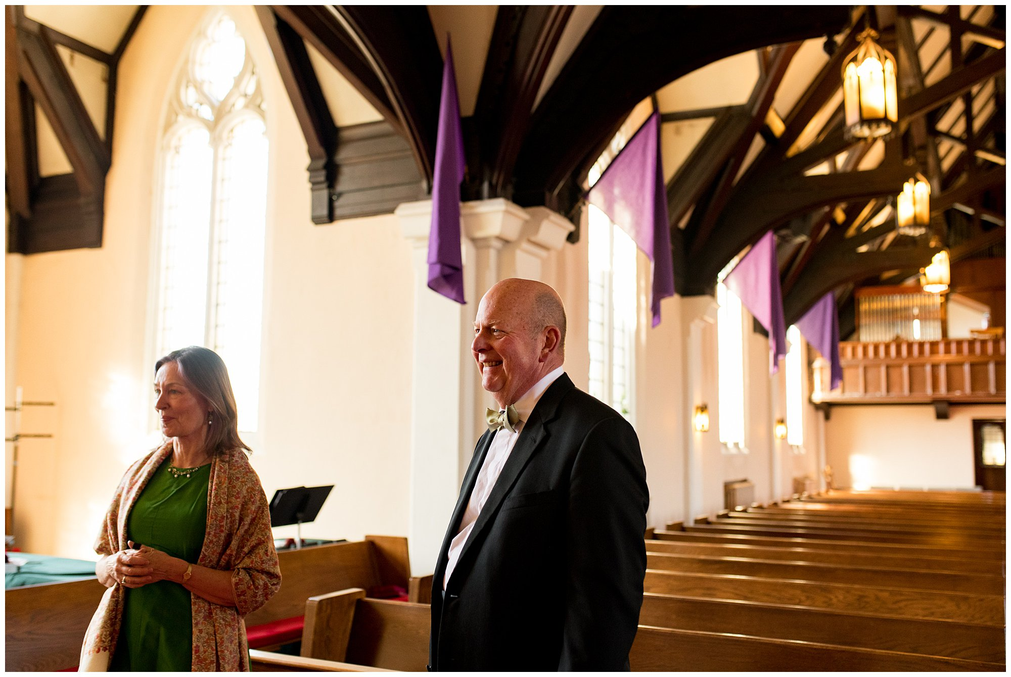 bride's father smiles seeing her for the first time