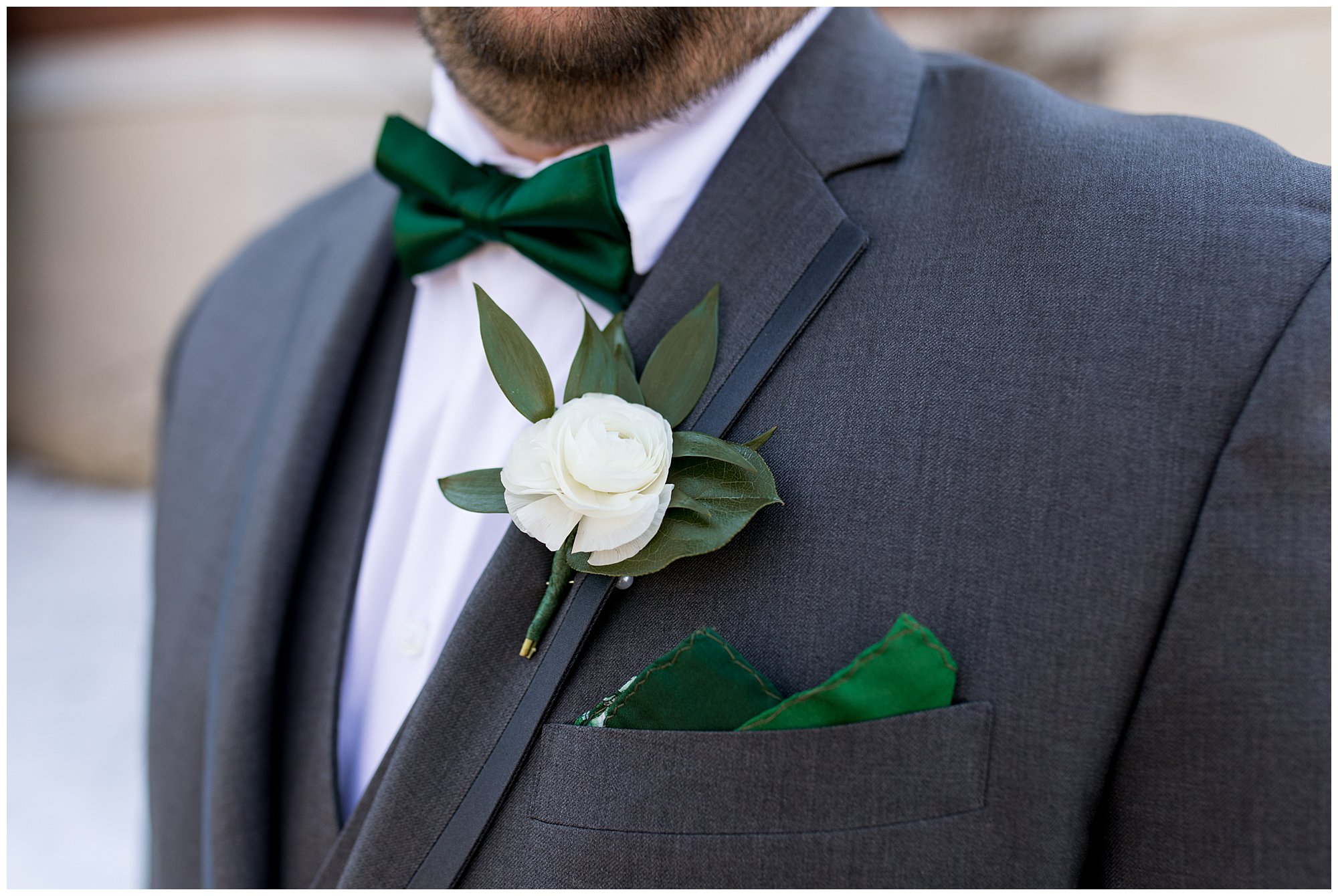 closeup of boutonniere from The Flower Boys florist