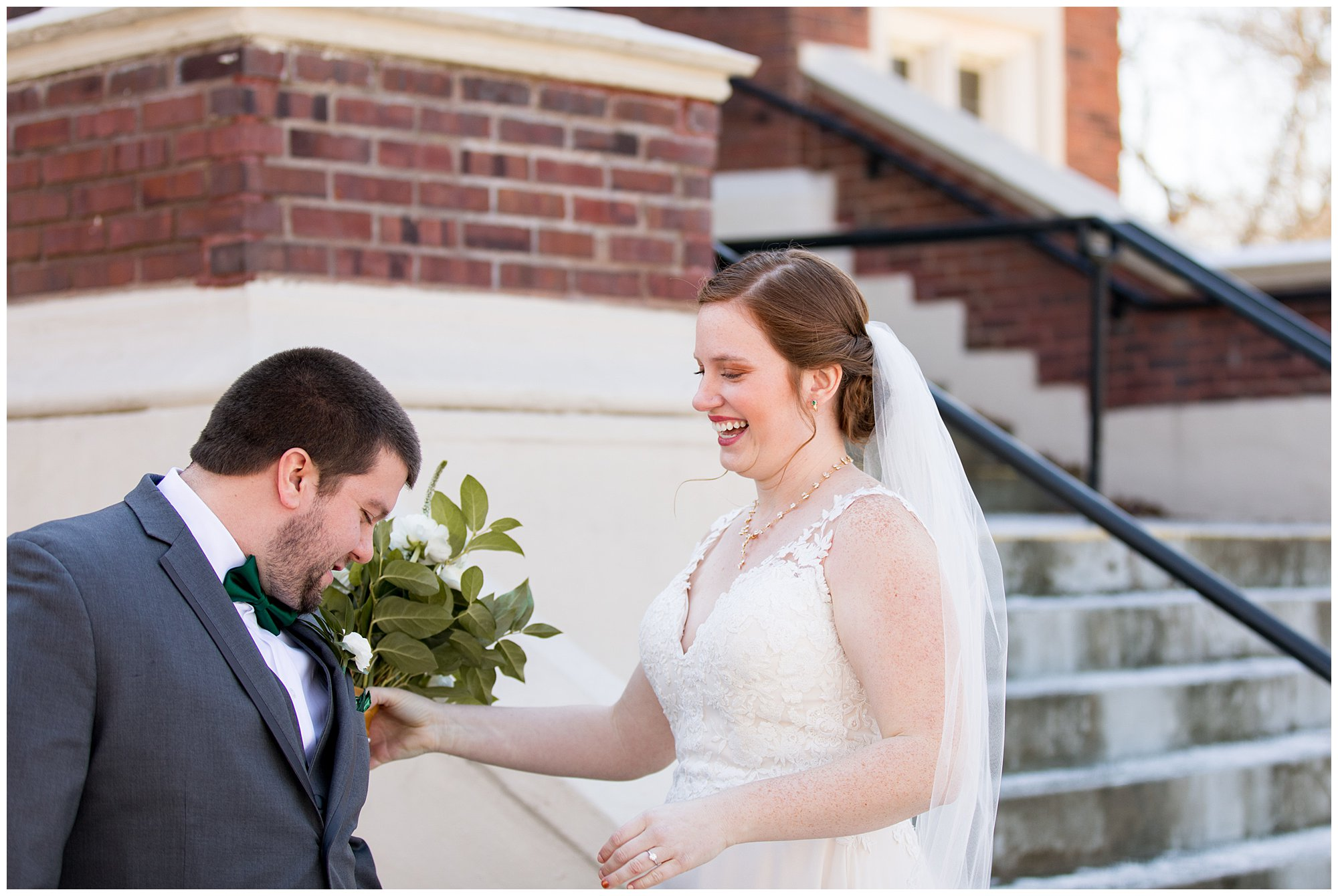 groom looks at bride for first time before wedding ceremony in Indianapolis
