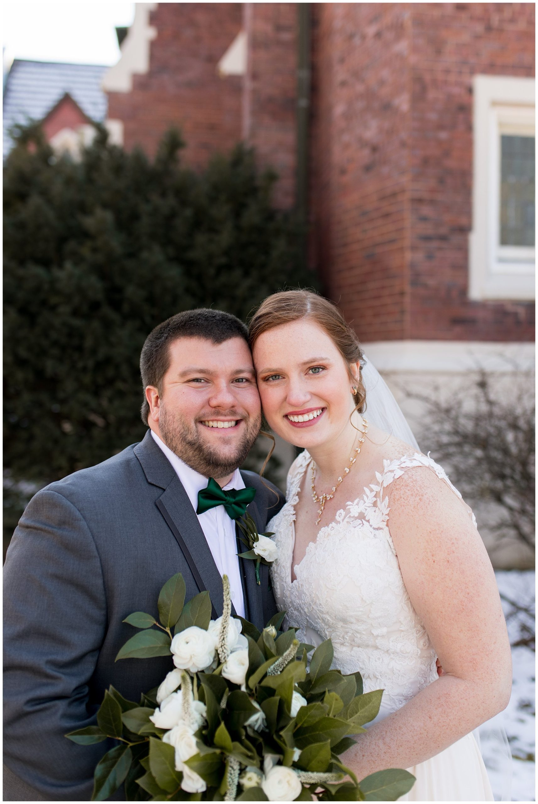 bride and groom photos before Indianapolis wedding ceremony