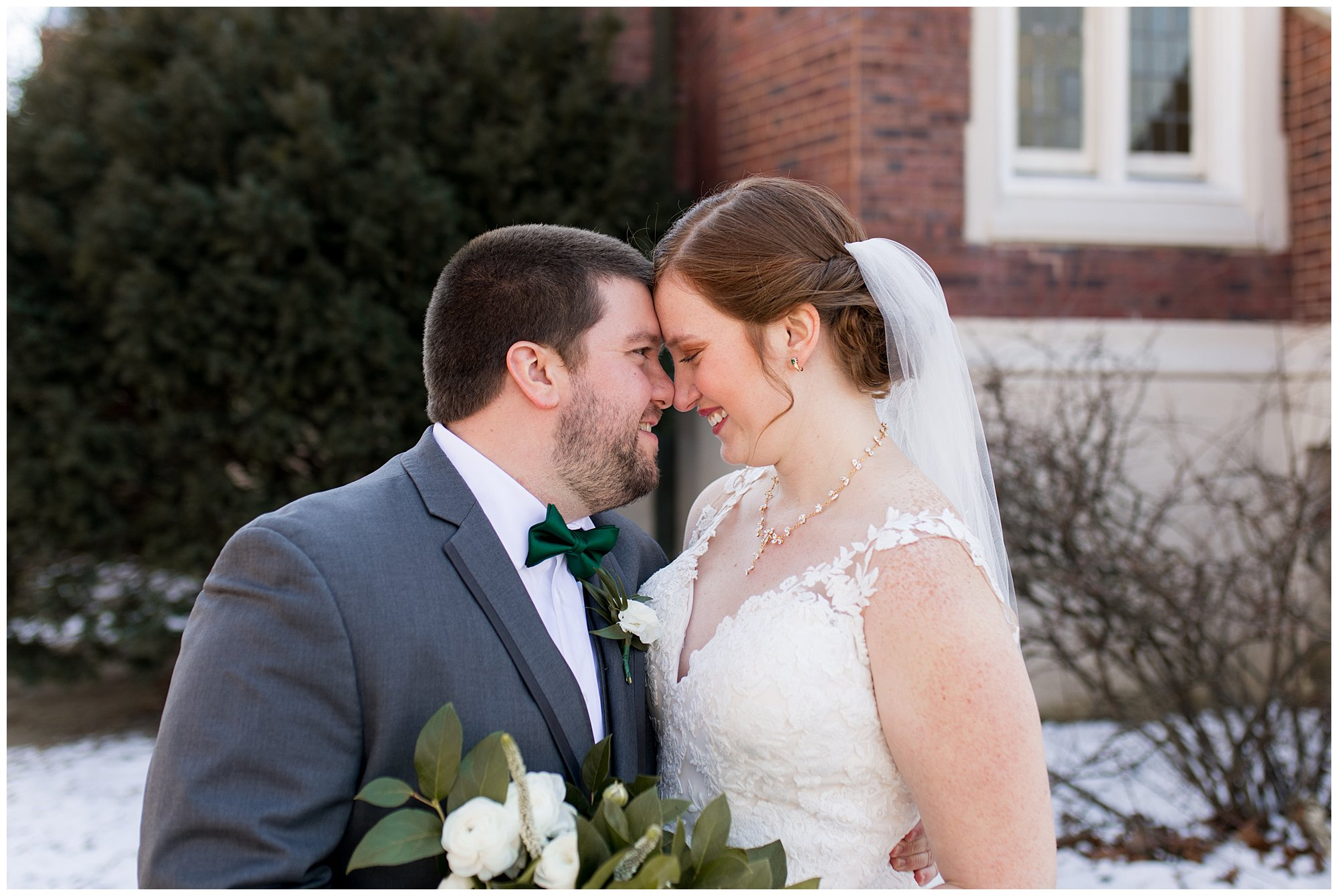 bride and groom nose to nose during Indianapolis wedding photos
