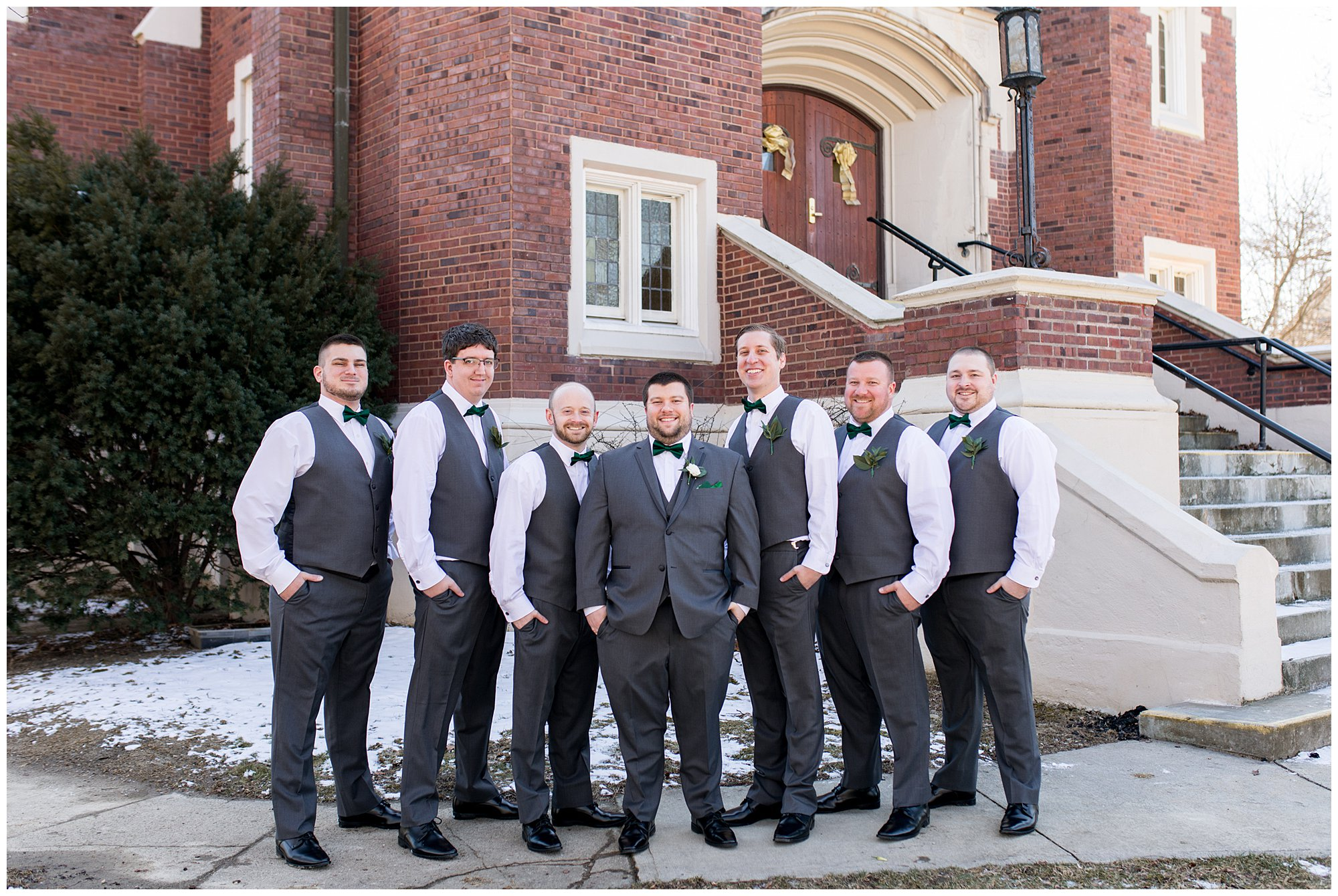 groom and groomsmen during wedding party photos