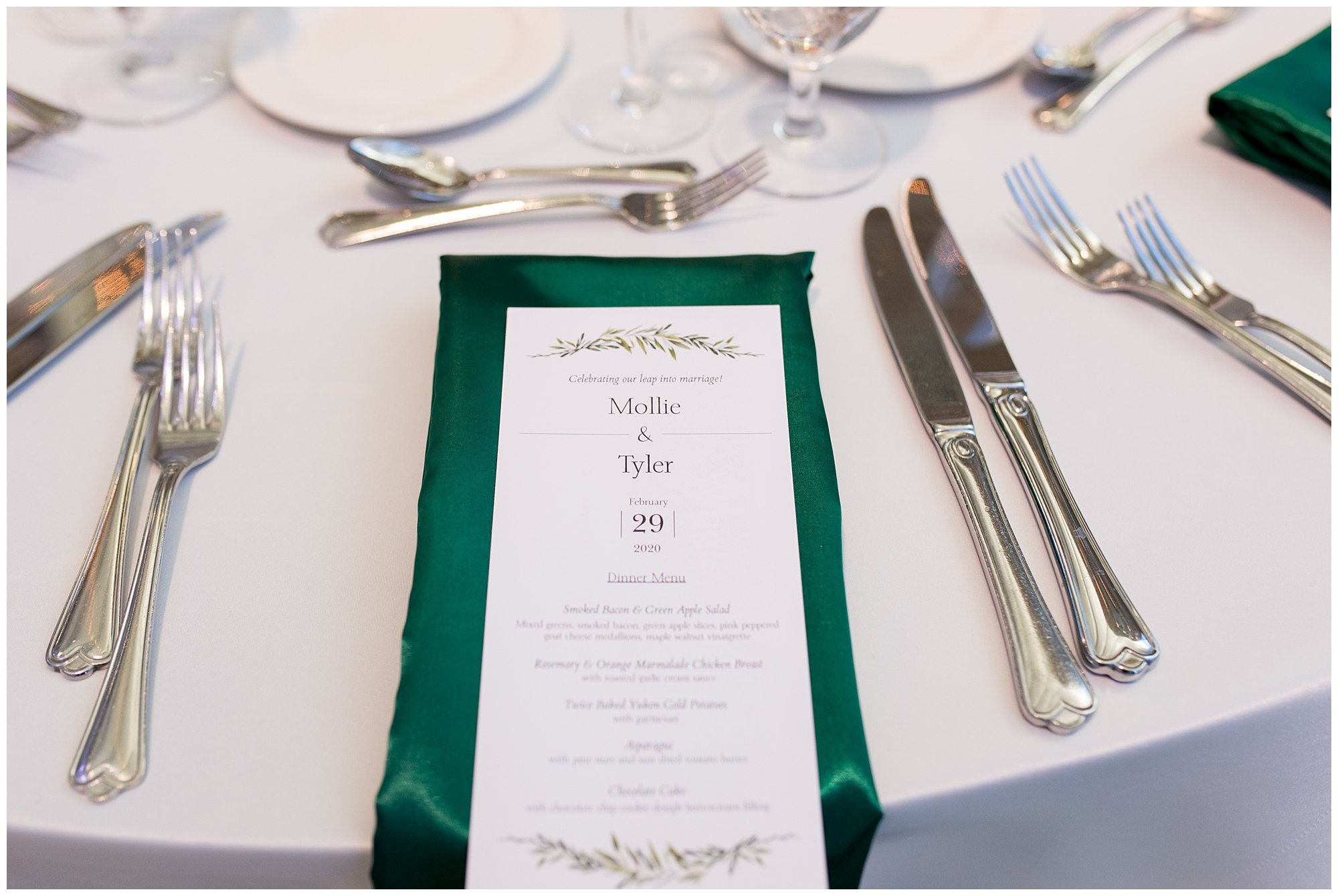 wedding reception dinner menu at Indiana State Museumf