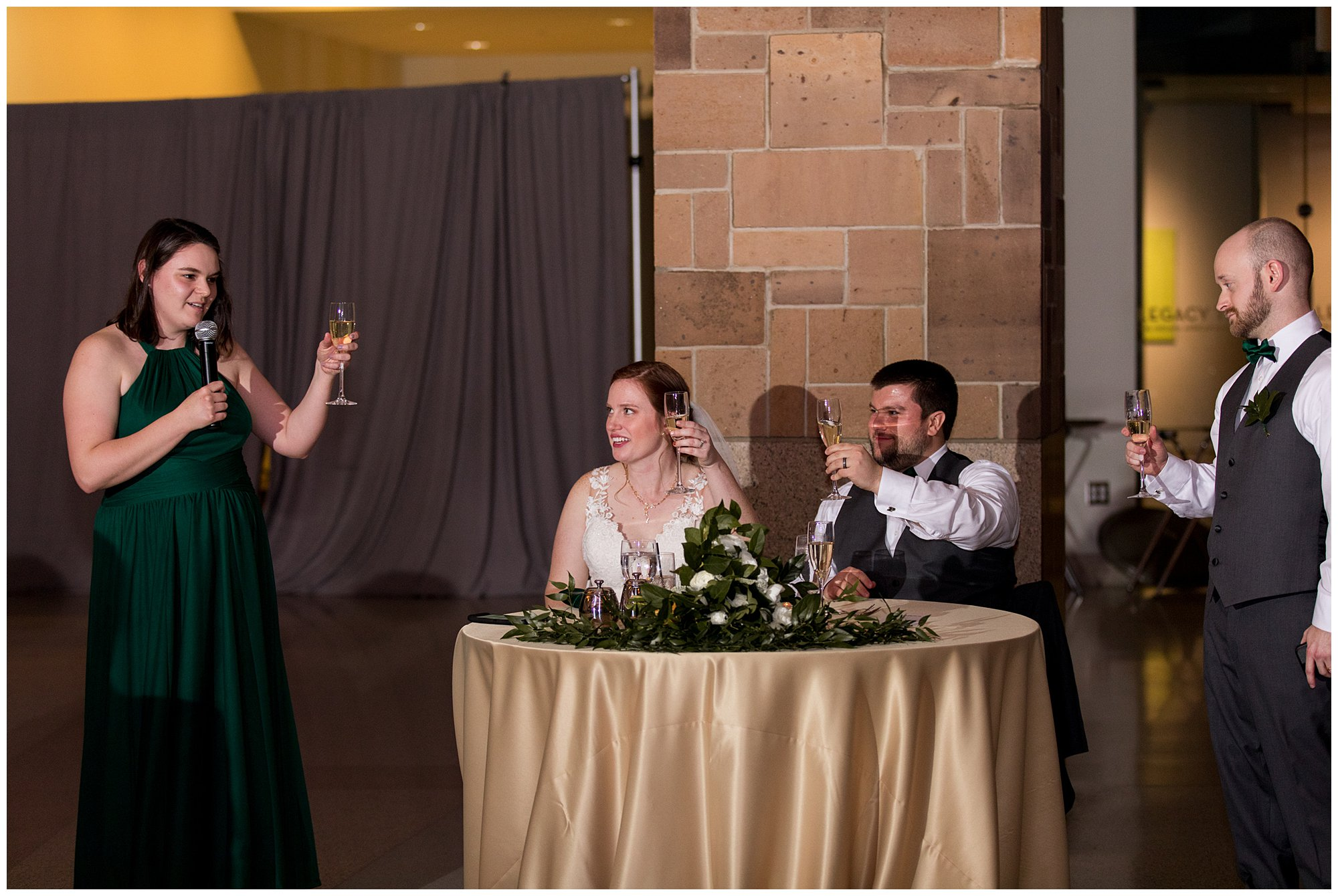 maid of honor gives toast in honor of bride and groom at Indiana State Museum wedding reception