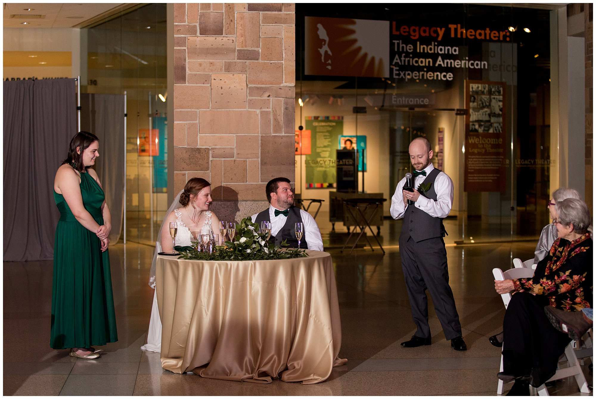 best man gives toast in honor of bride and groom at Indiana State Museum wedding reception