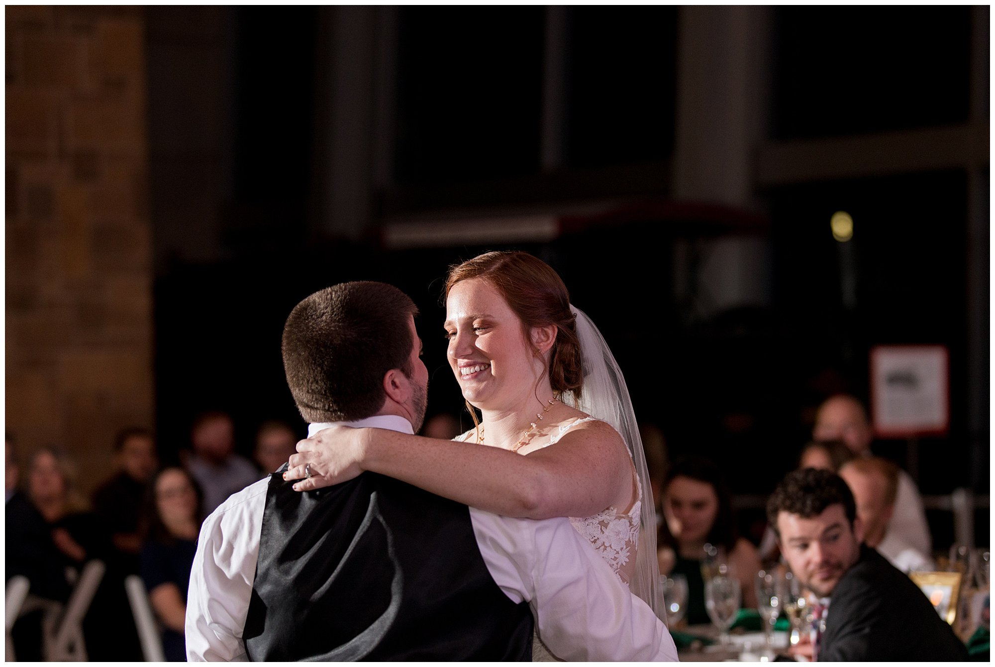 bride and groom first dance during Indianapolis wedding reception