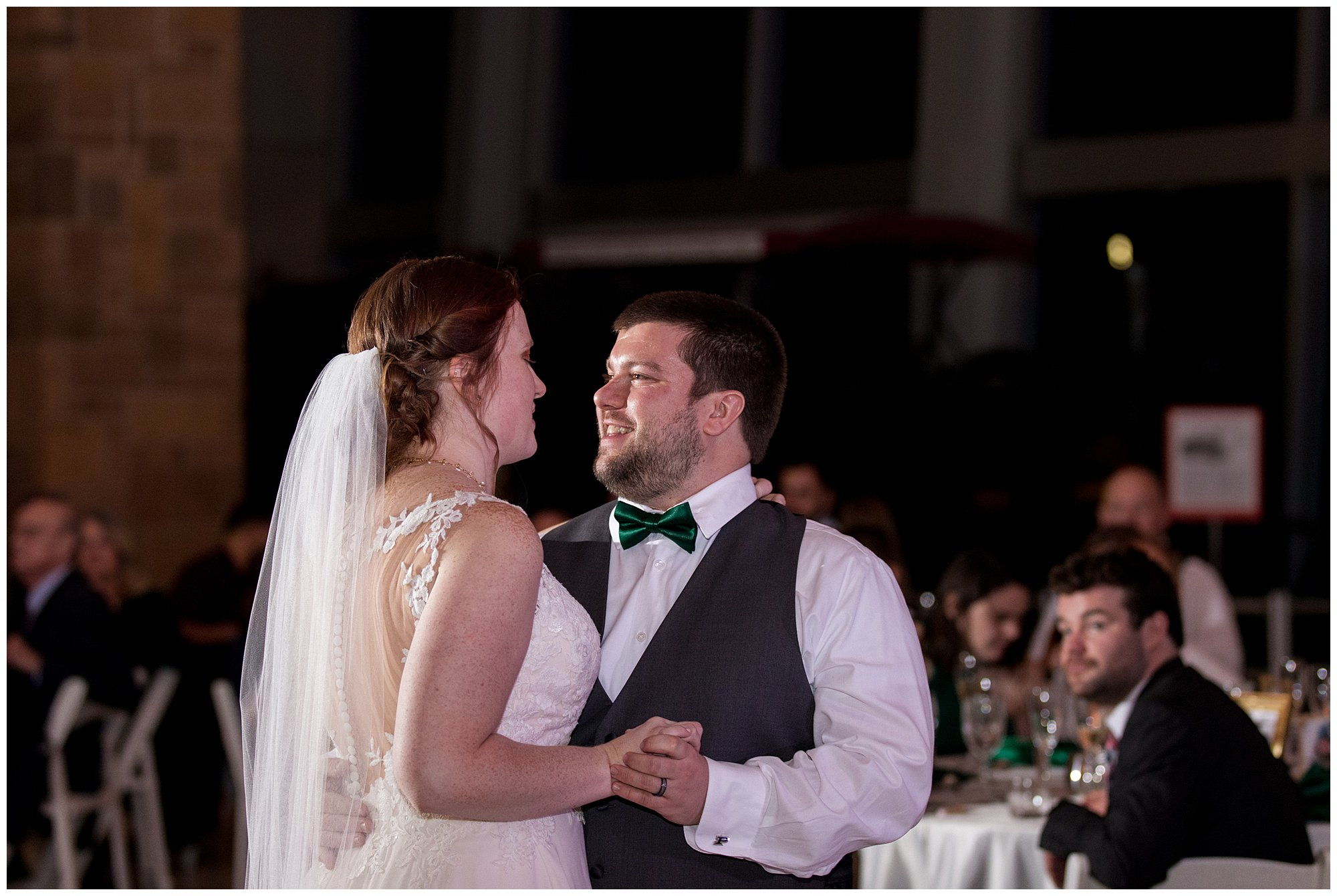 bride and groom first dance at Indiana State Museum wedding reception