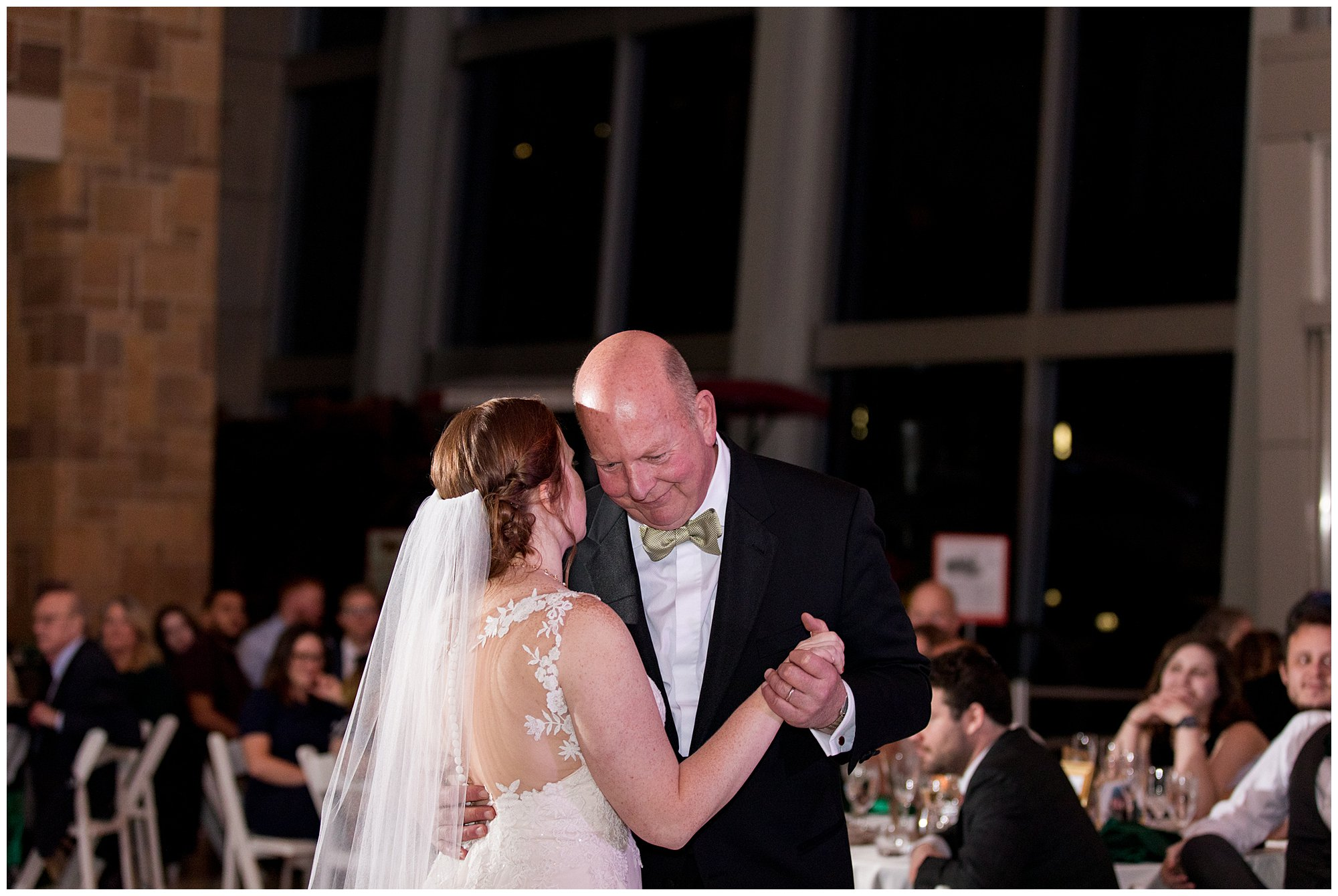 bride and father dance during wedding reception in Indianapolis