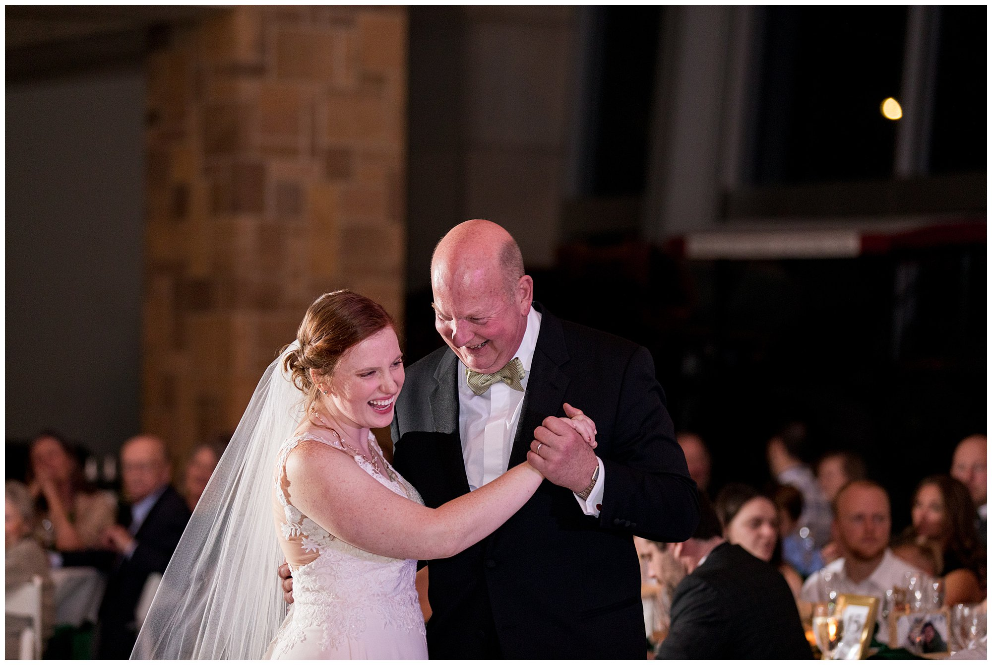 bride and father dance during wedding reception at Indiana State Museum