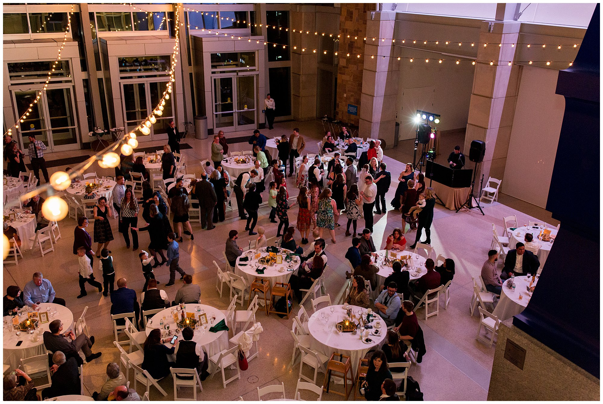 Indiana State Museum wedding reception from balcony