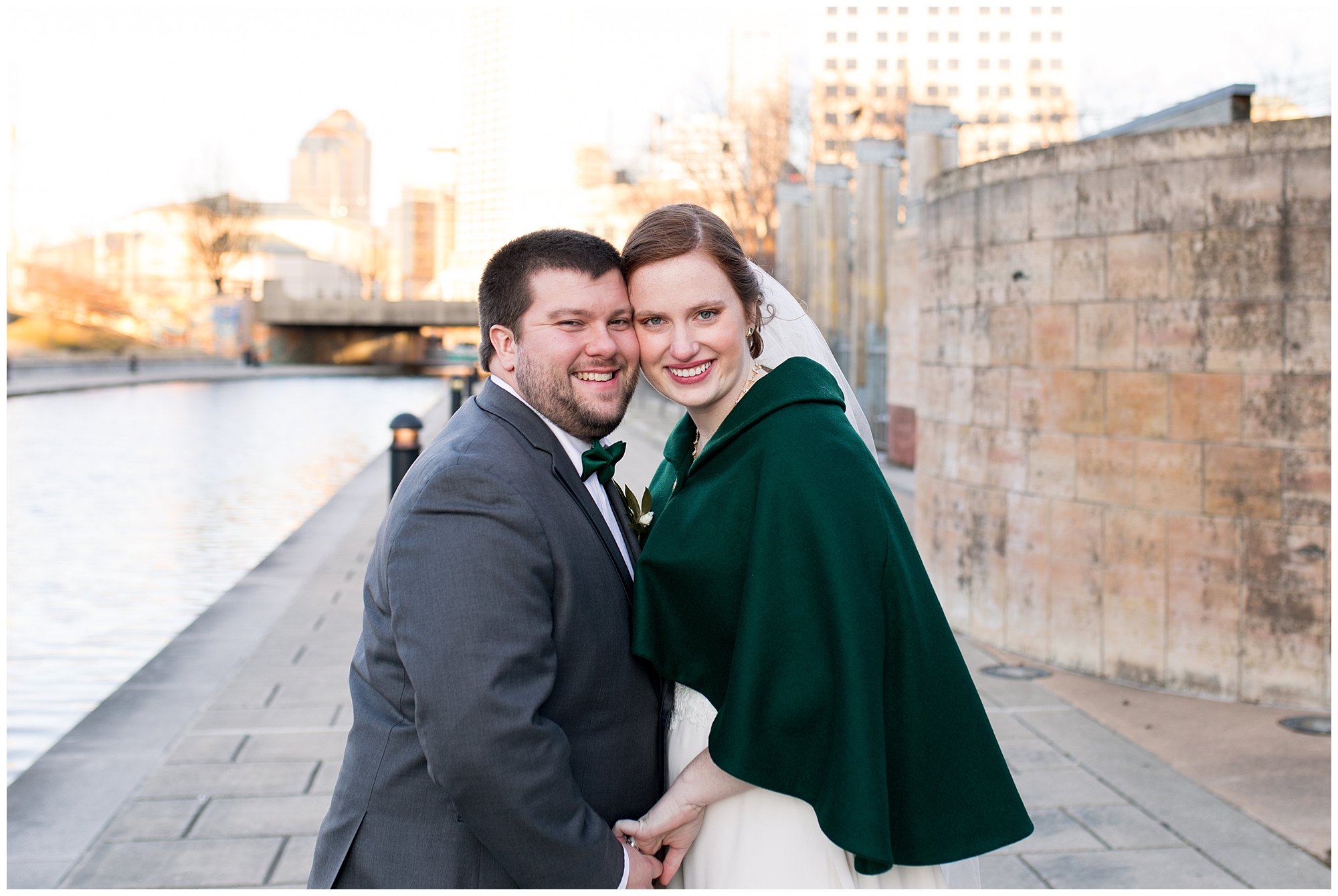 bride and groom on White River Canal
