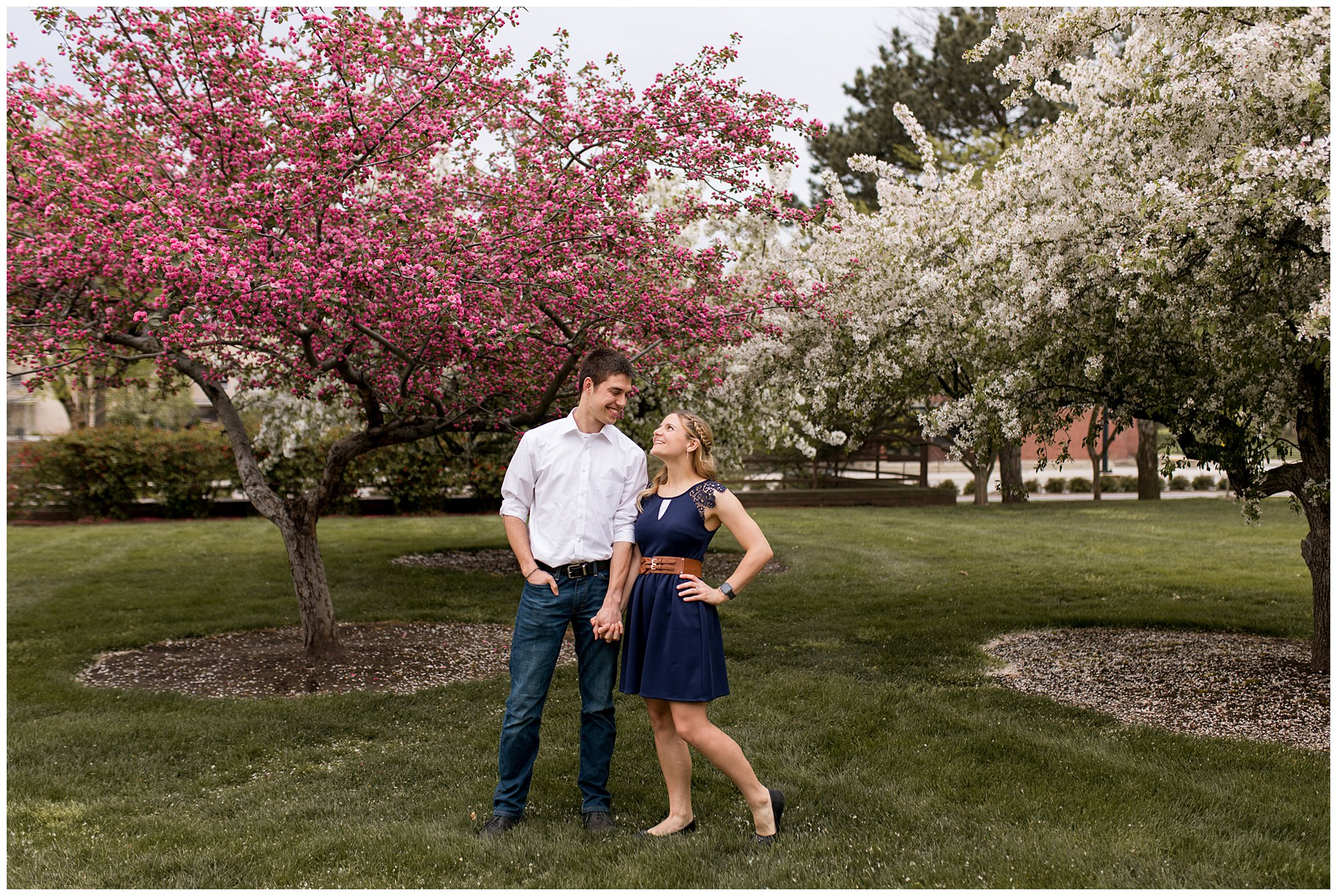 bride and groom hold hands during Lafayette Indiana engagement session