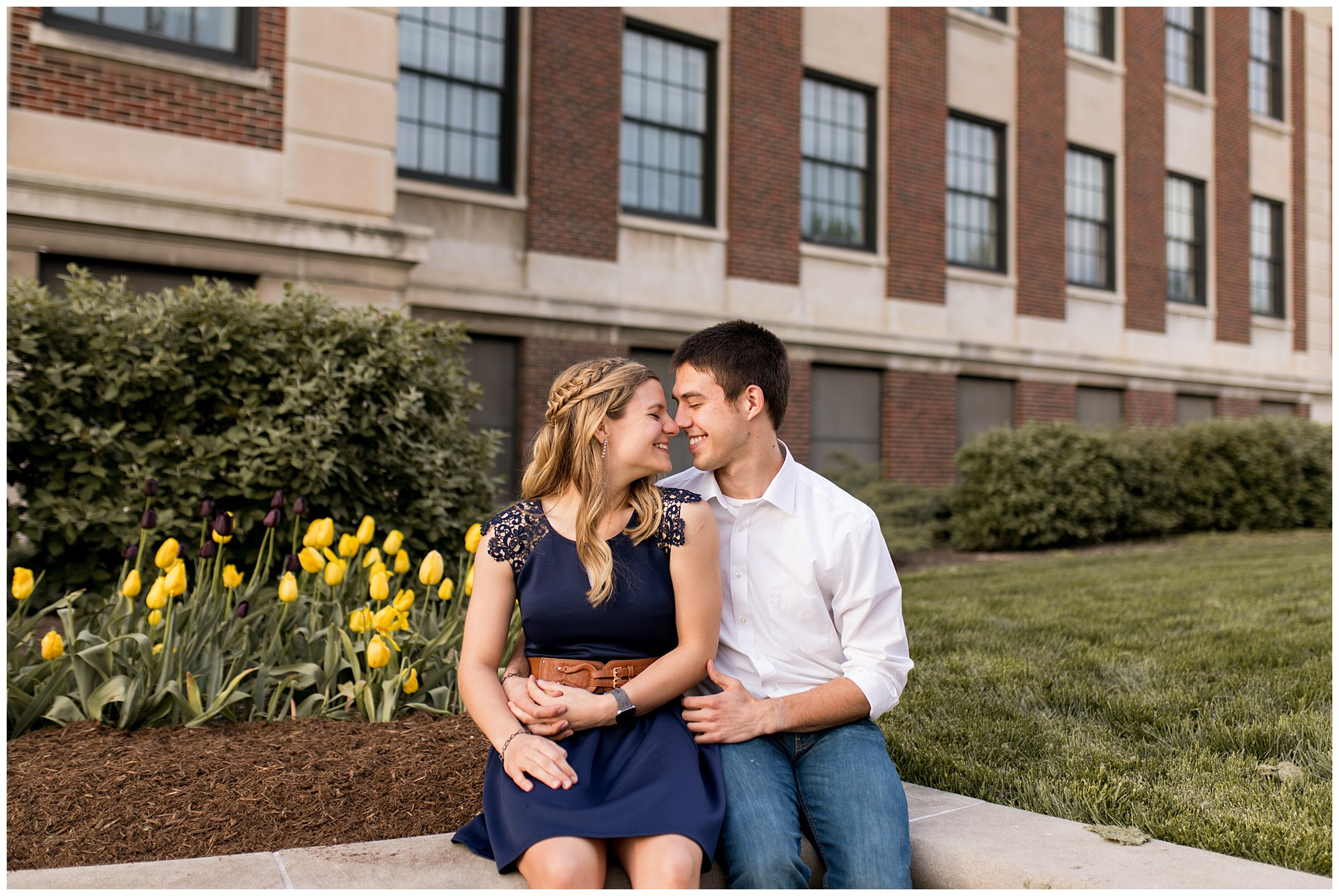 bride and groom look into each other's eyes during engagement session in West Lafayette, Indiana