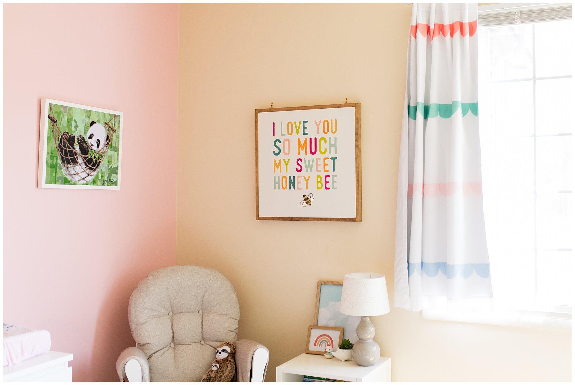 rainbow themed newborn nursery in Fort Wayne Indiana