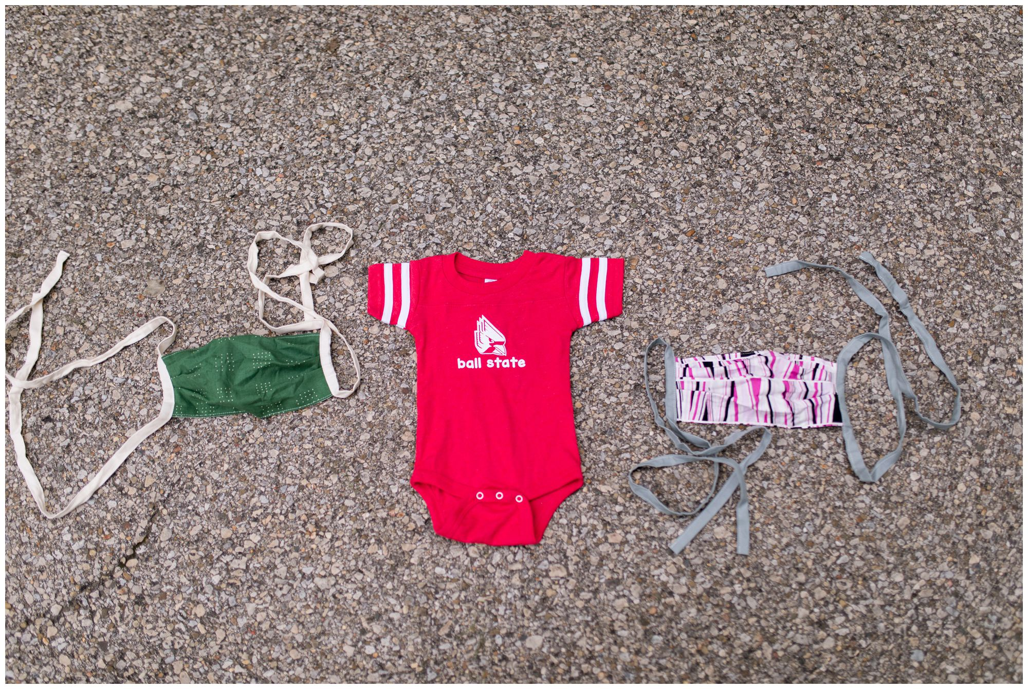 Ball State baby onesie with face masks