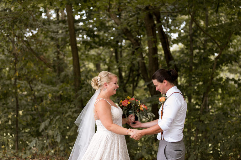 Noblesville outdoor wedding ceremony first look