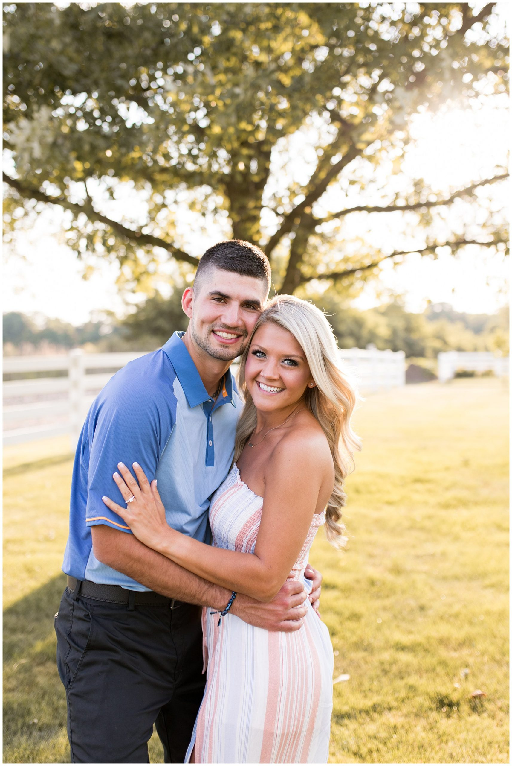 bride and groom Fort Wayne sunset engagement session
