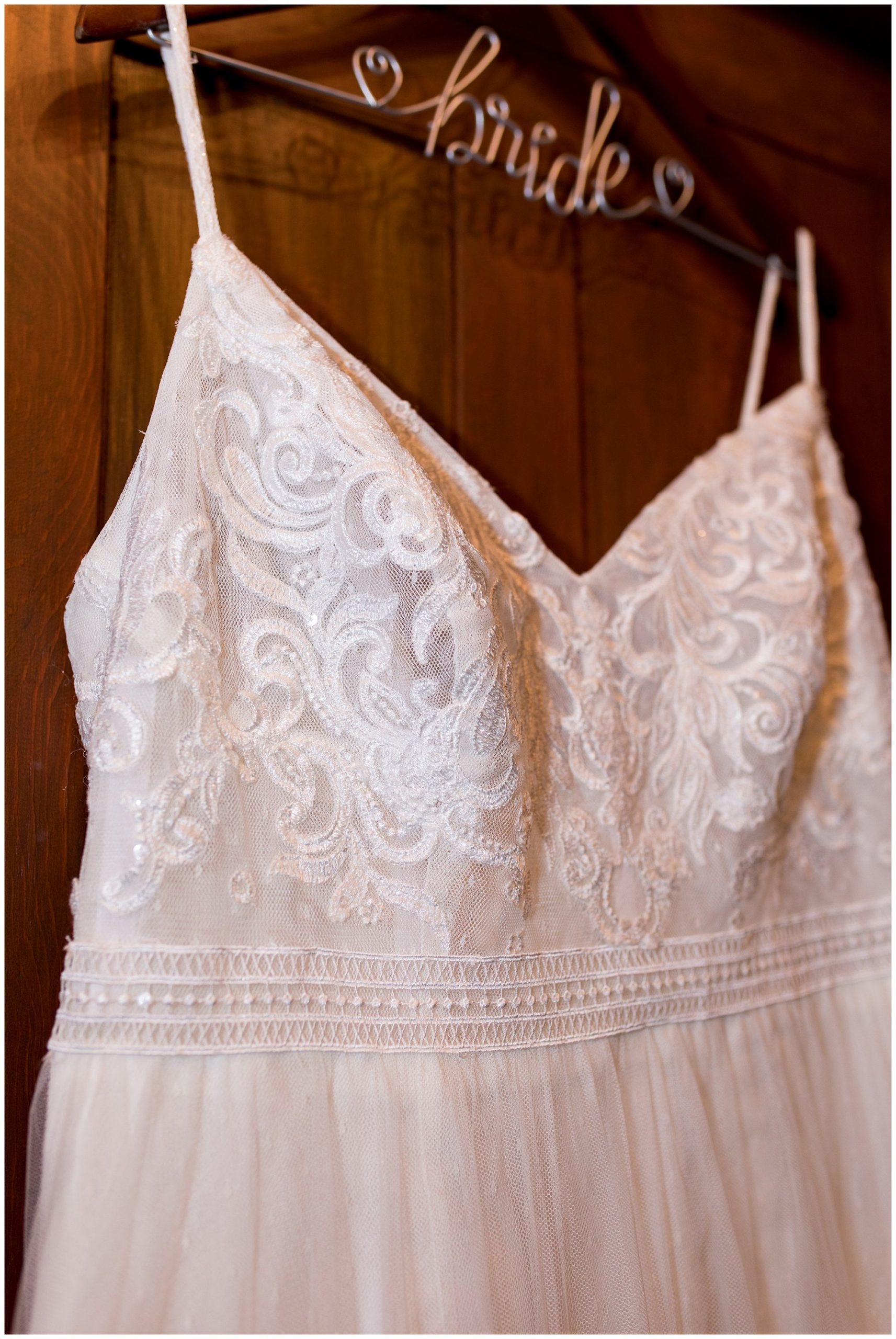 bride's dress before wedding at The Old Mill Village