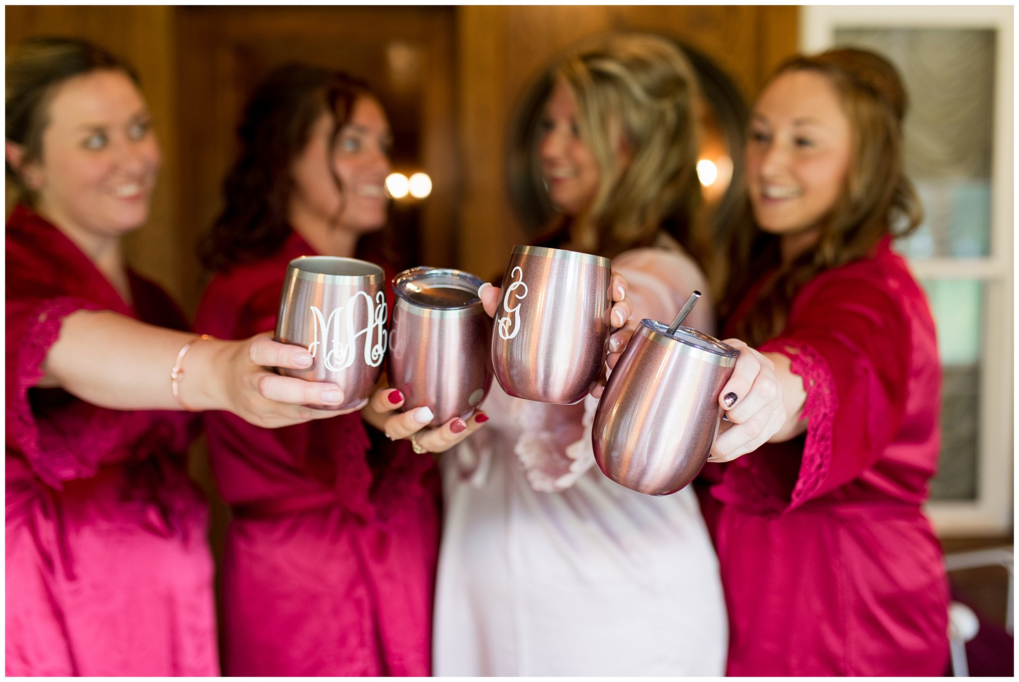 bride and bridesmaids in robes getting ready at The Old Mill Village