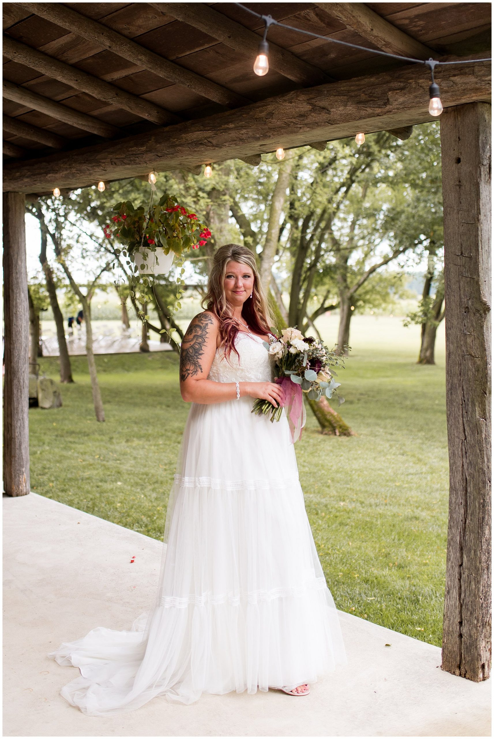 bride portraits at The Old Mill Village in Fremont Indiana