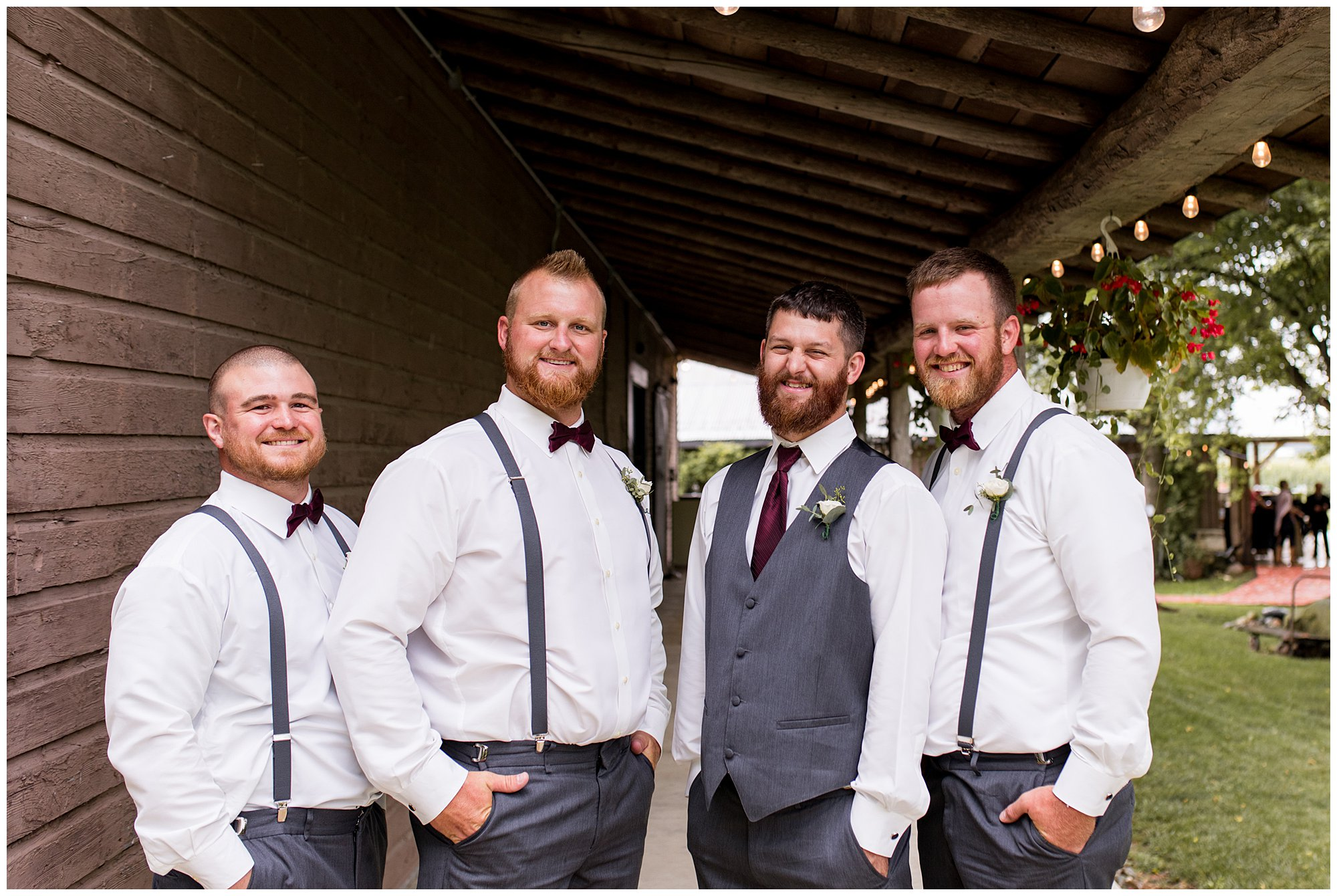 groom and groomsmen photos at The Old Mill Village