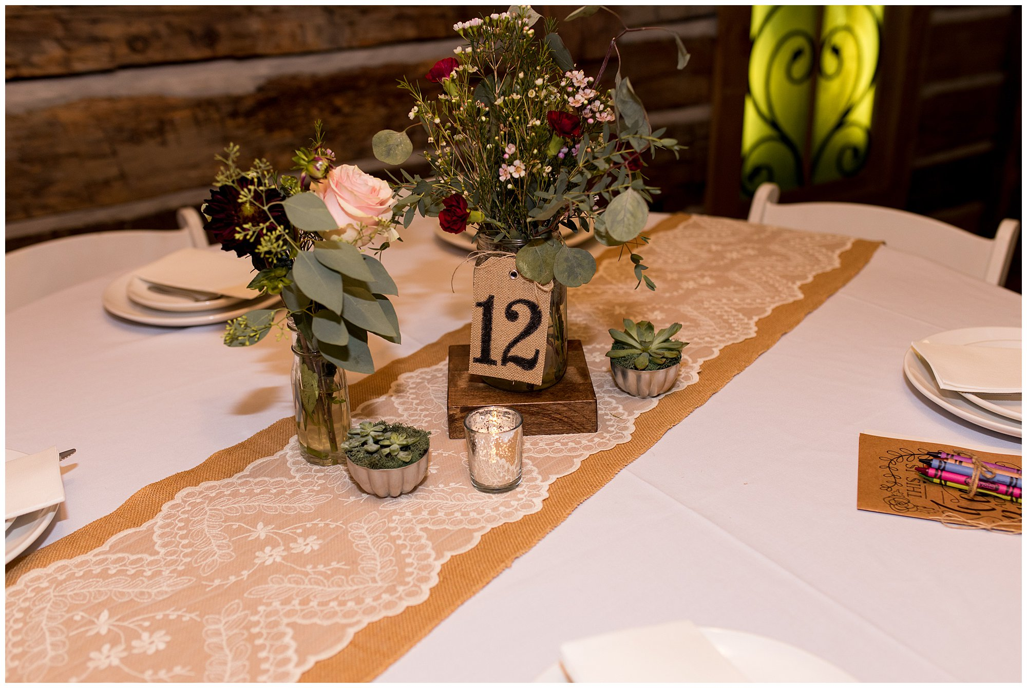 reception table decor at The Old Mill Village in Fremont Indiana