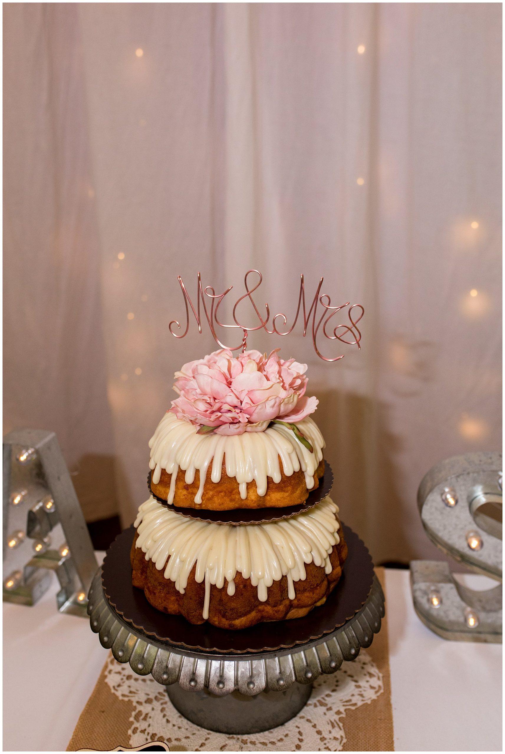 wedding cake from Nothing Bundt Cakes in Fremont Indiana