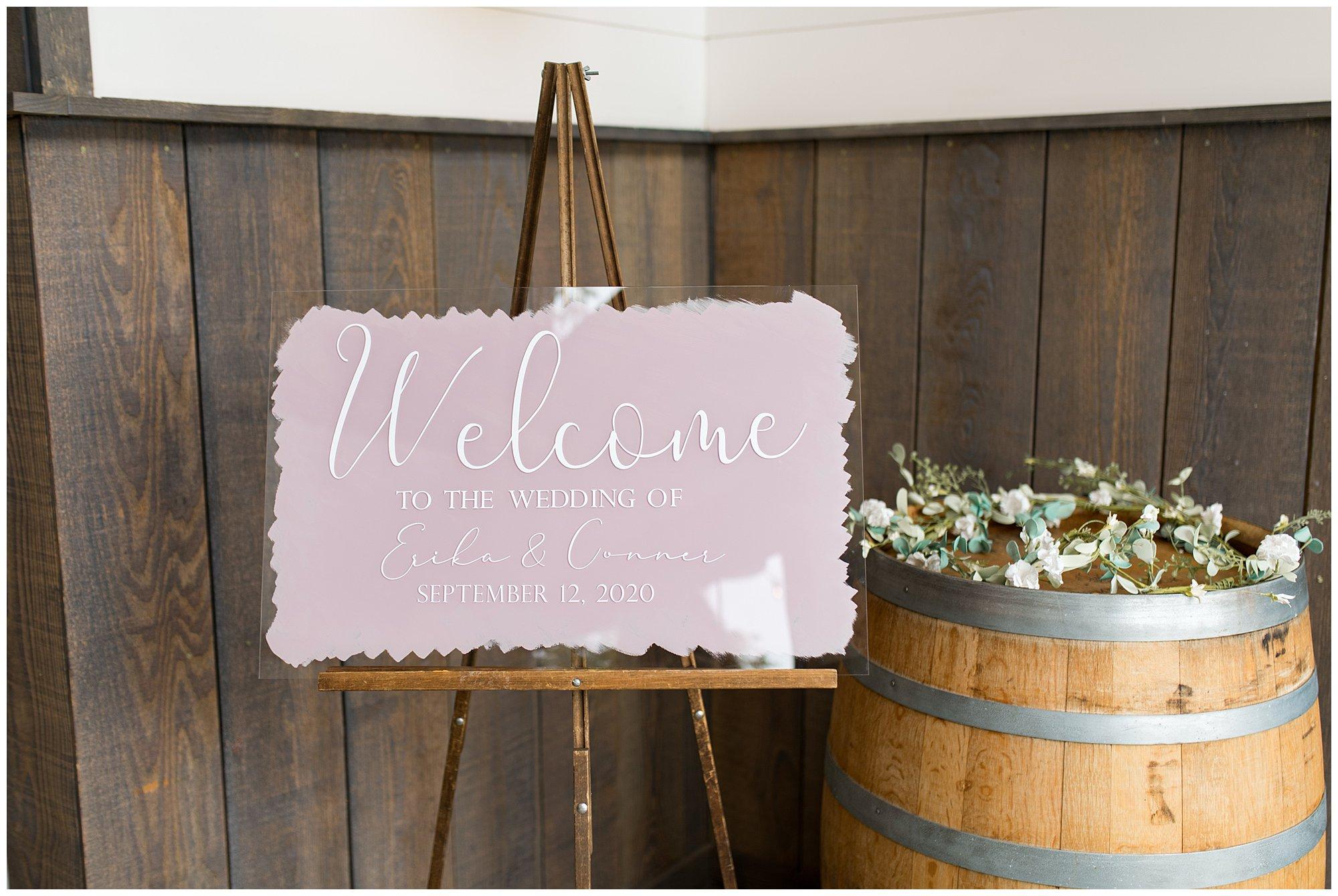 acrylic wedding sign at Union 12 wedding venue