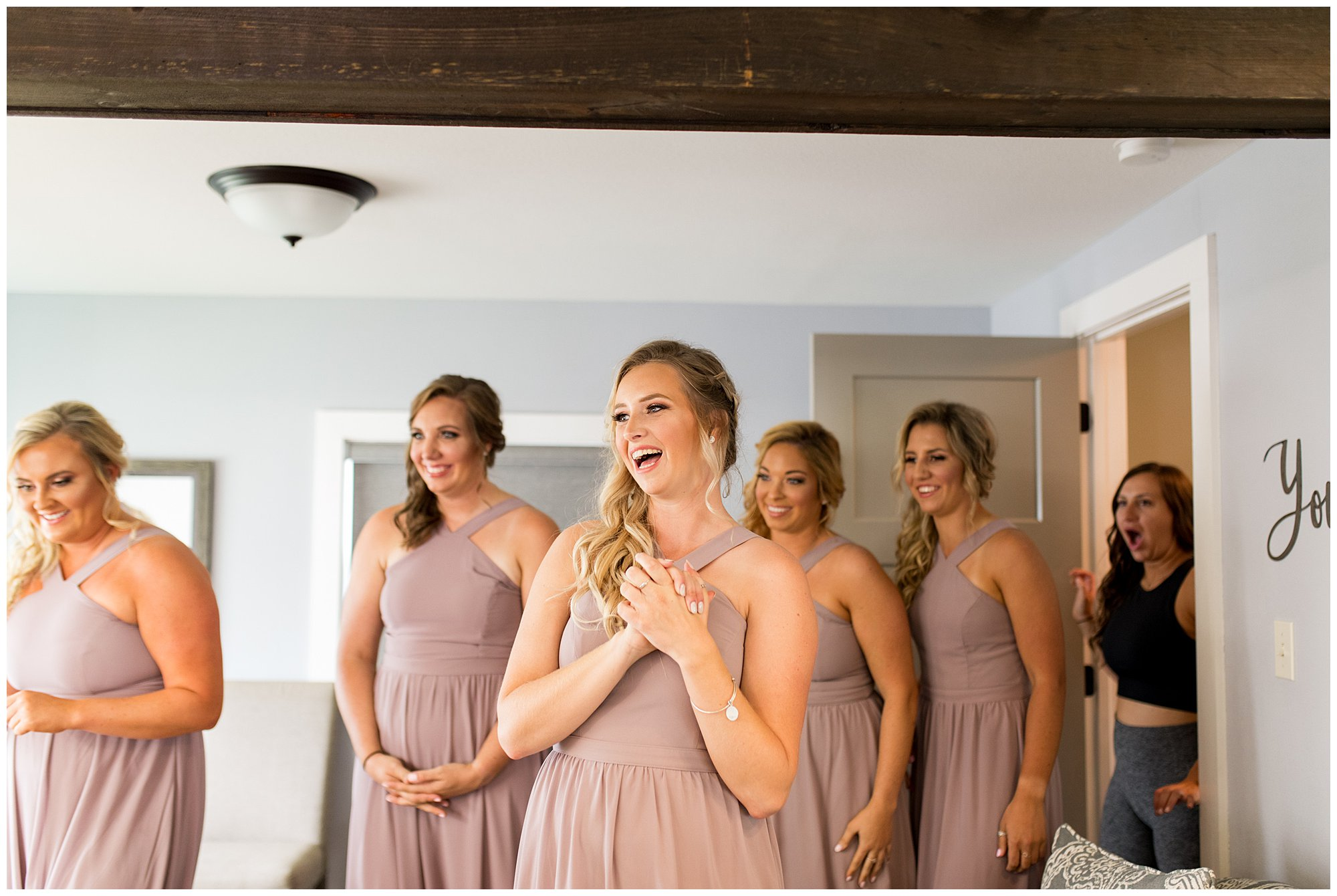 first look with bridesmaids at Union 12 wedding venue