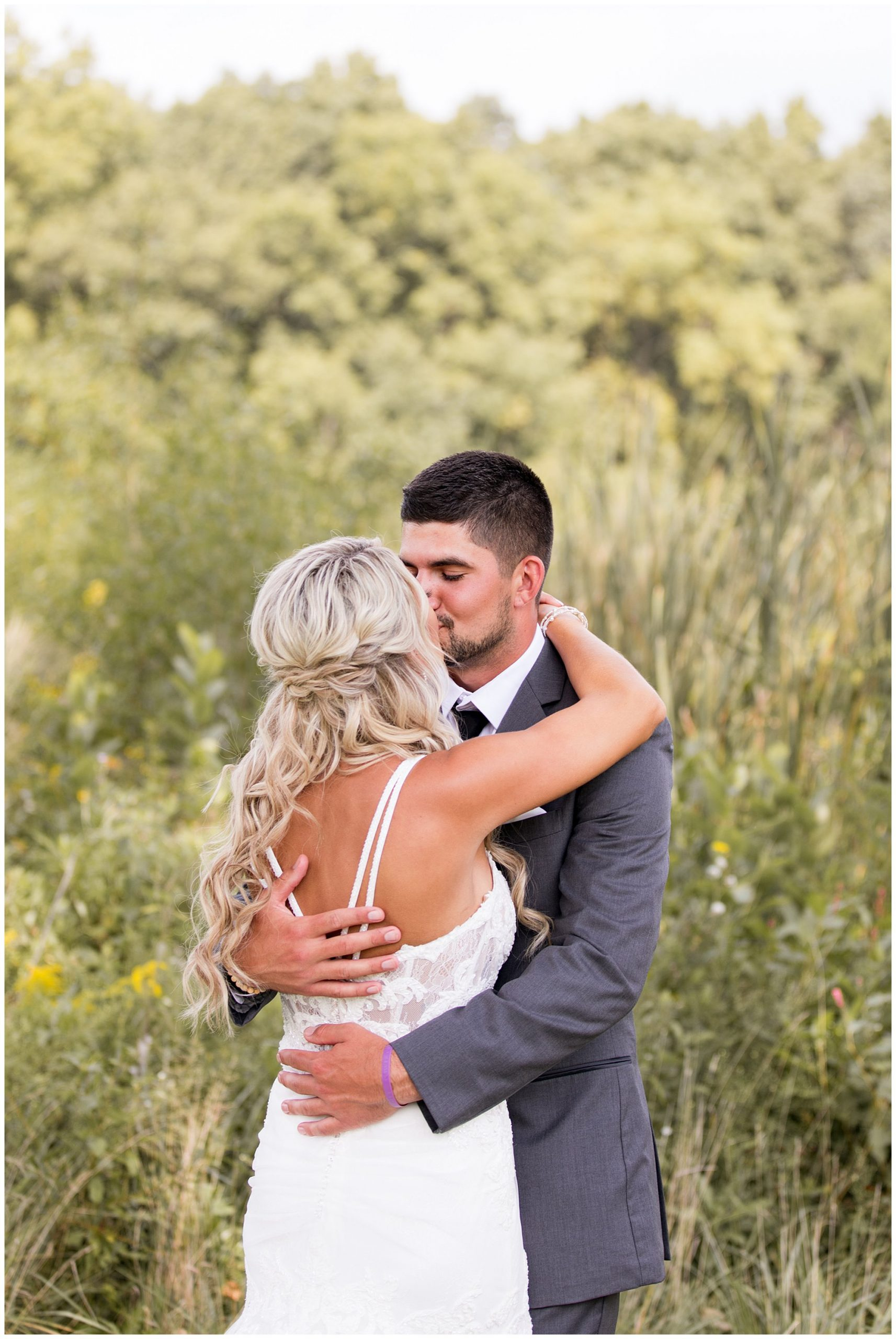 first look with bride and groom during Fort Wayne wedding at Union 12