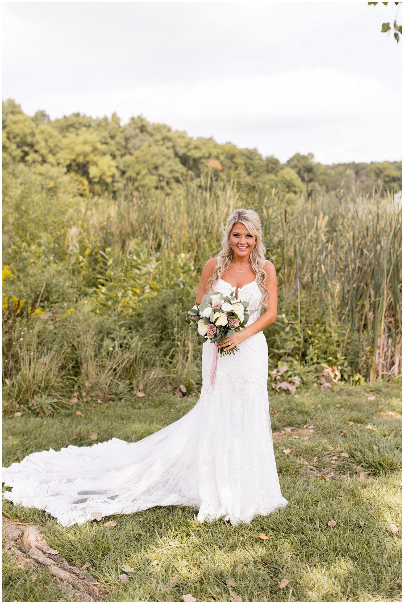 bride portraits at Union 12 wedding venue in Columbia City, Indiana