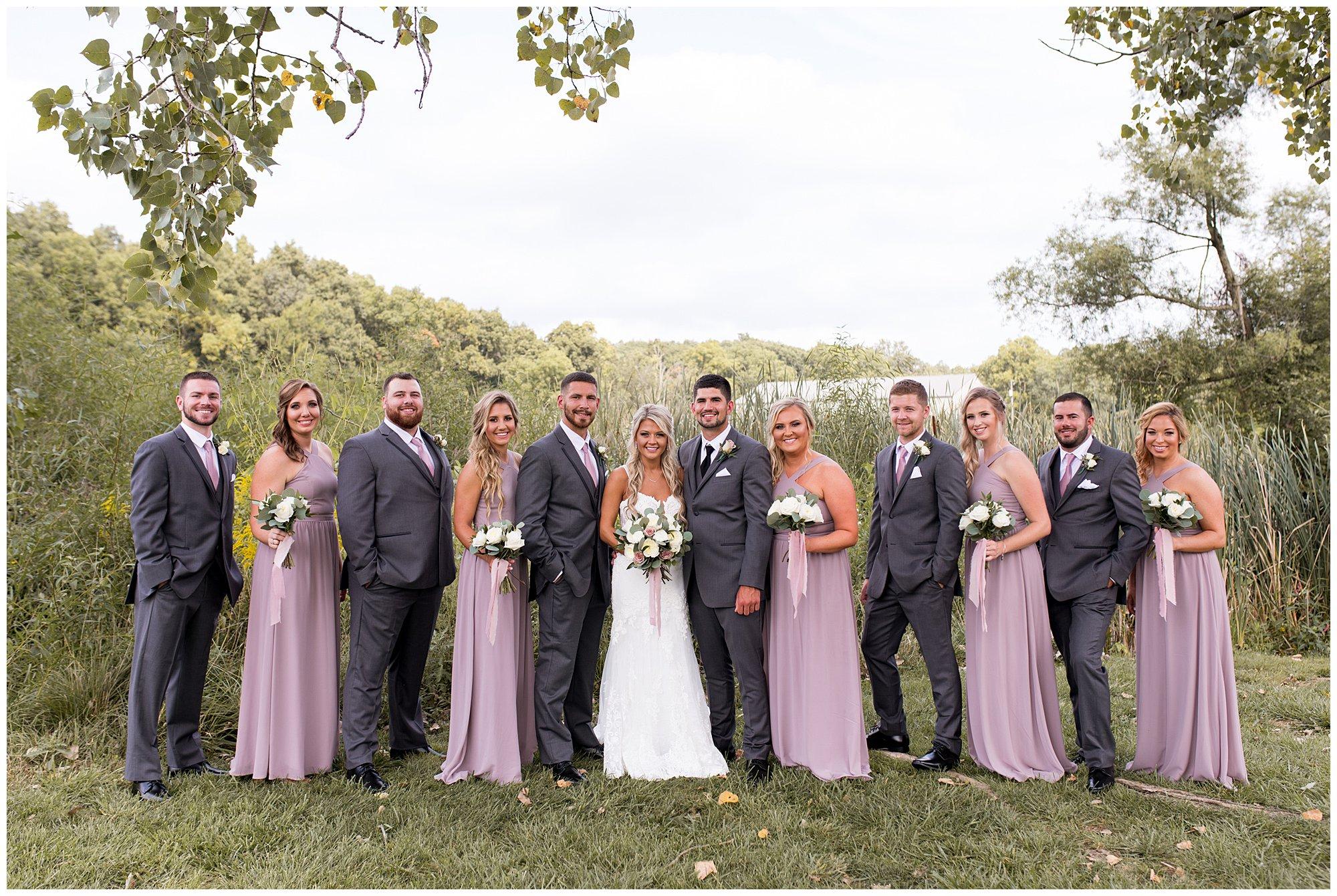 wedding party portraits at Union 12 wedding venue in Fort Wayne