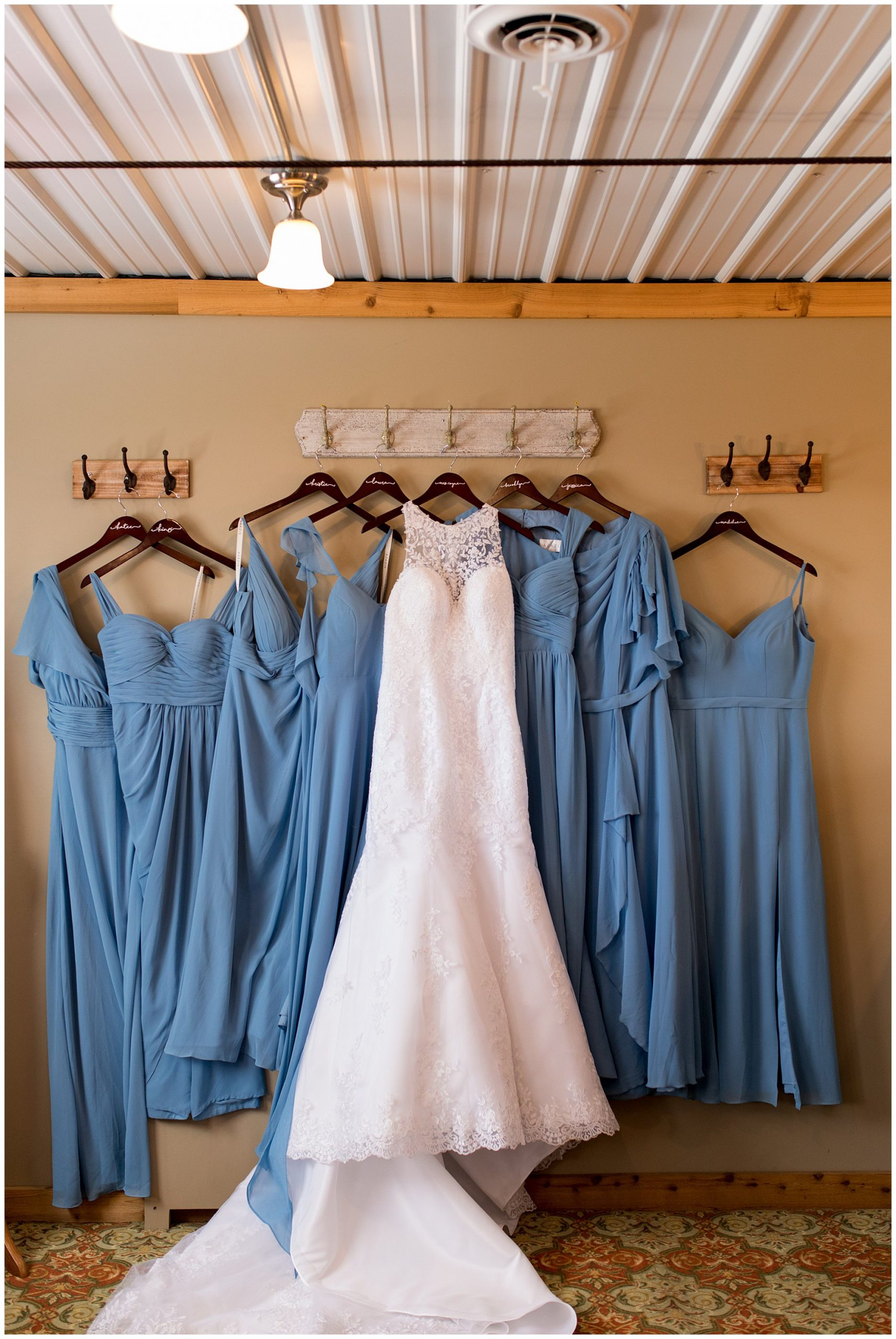 bride's wedding dress from Sophia's Bridal in Fishers with bridesmaids dresses