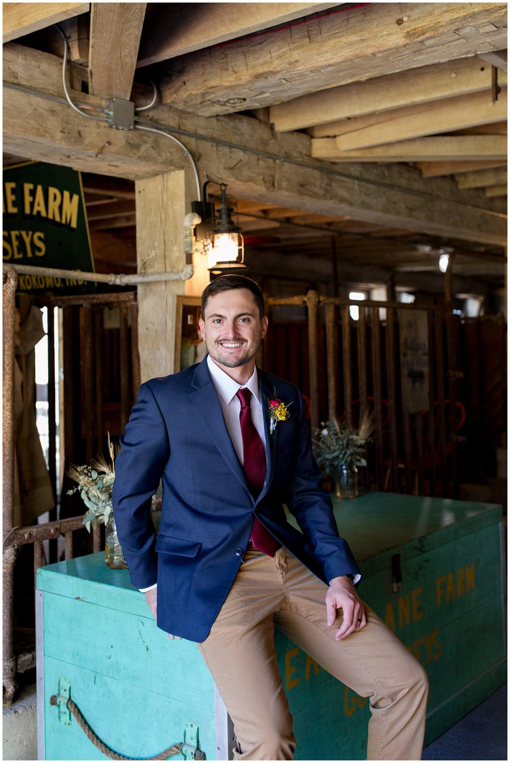 groom portraits before wedding at Legacy Barn in Kokomo Indiana