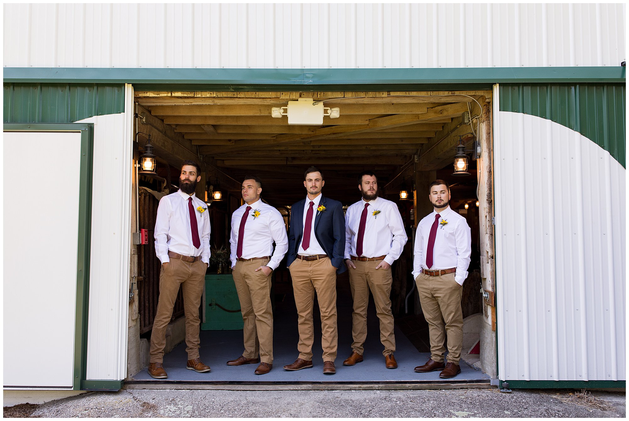 groom and groomsmen photos before wedding ceremony at Legacy Barn in Kokomo Indiana