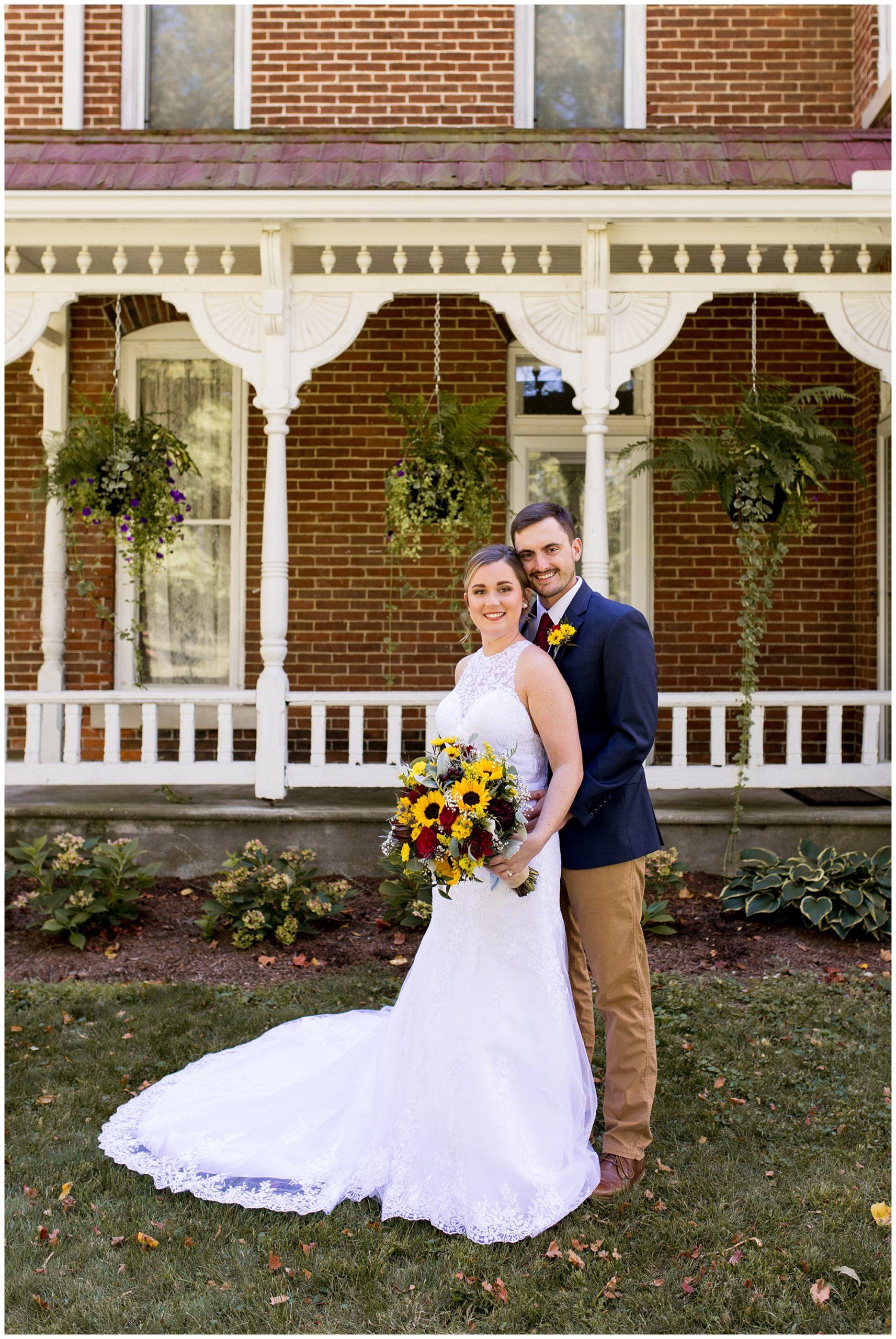 bride and groom wedding photos at Legacy Barn in Kokomo Indiana