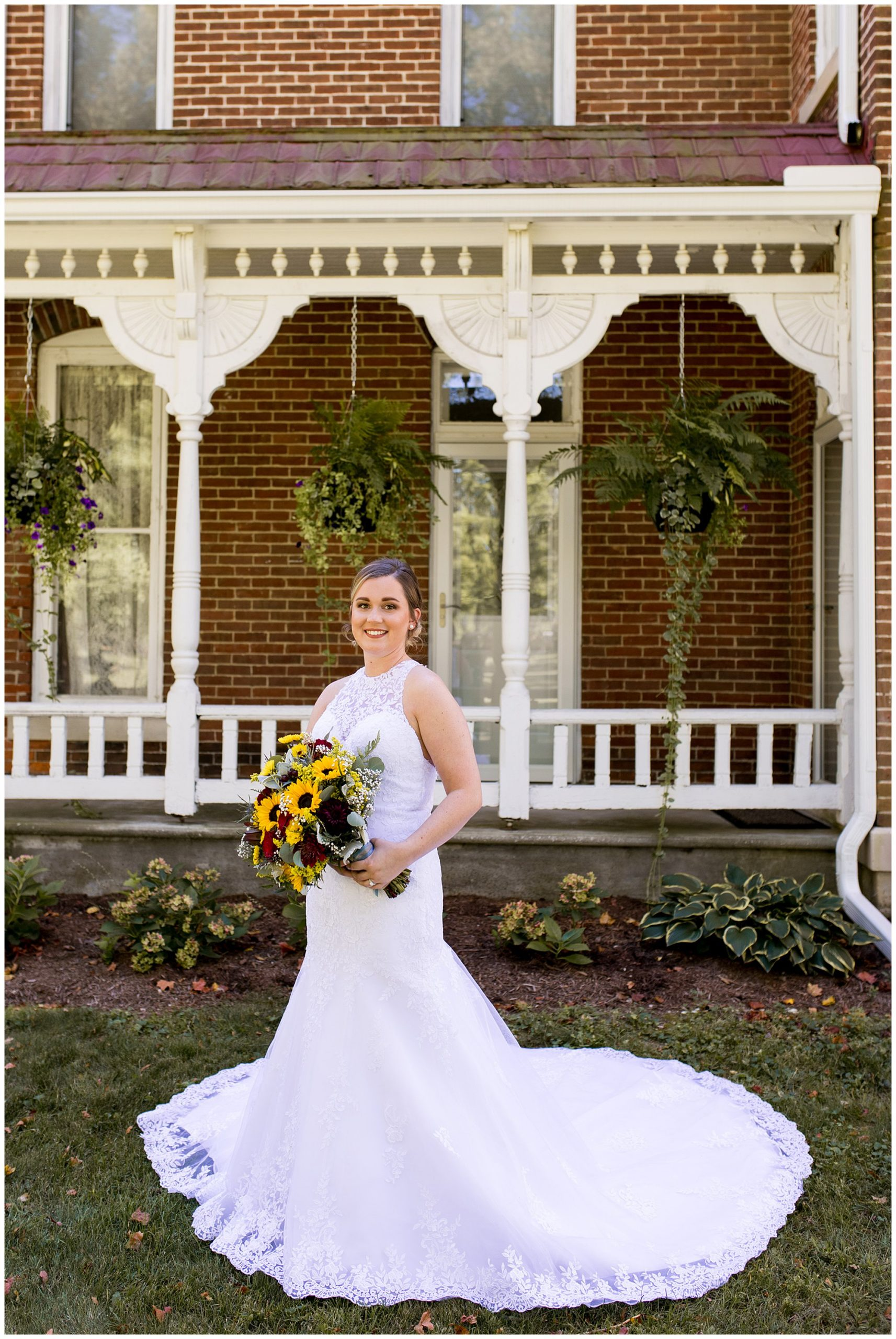 bride wedding photos before wedding ceremony at Legacy Barn in Kokomo Indiana