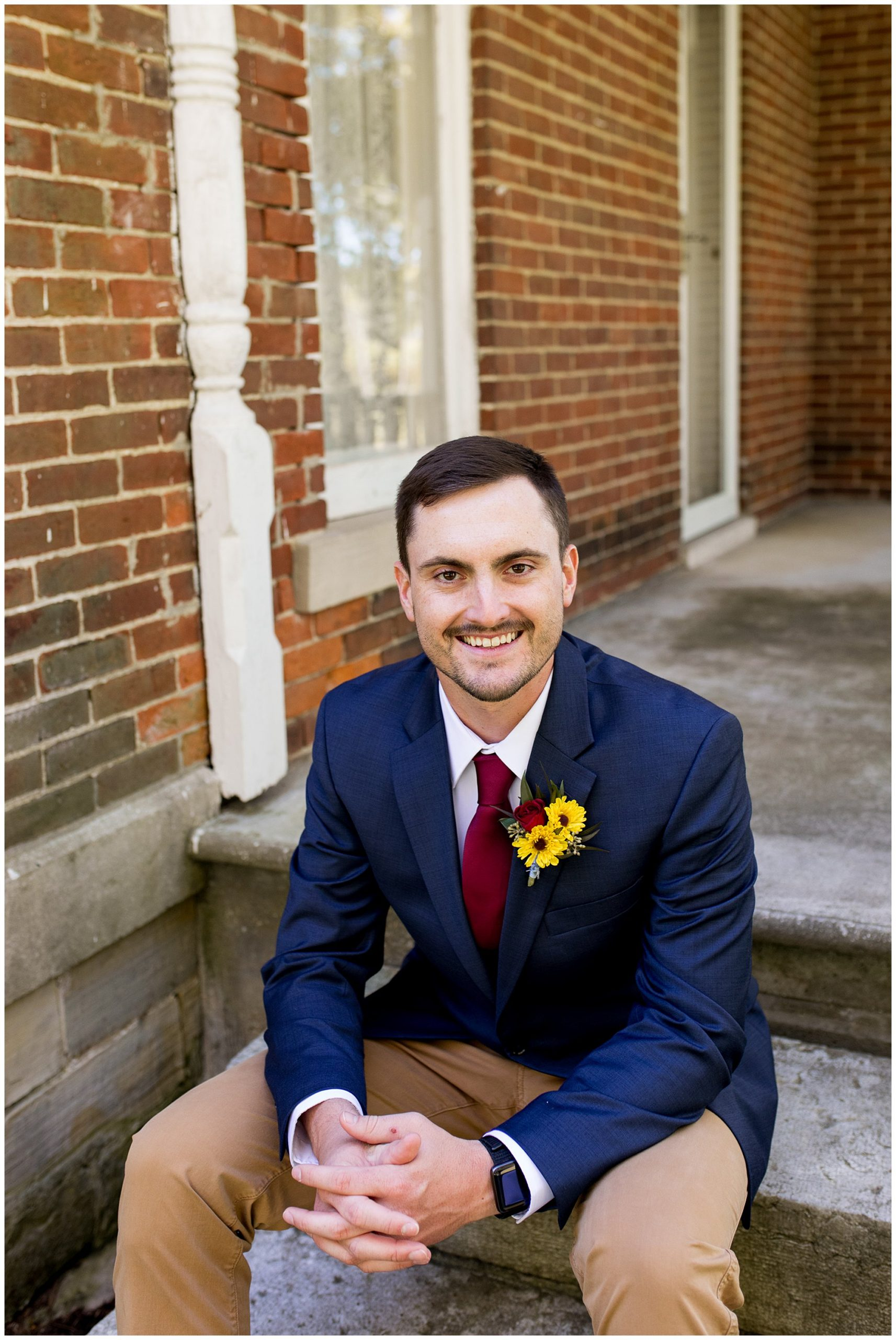 groom wedding photos before ceremony at Legacy Barn Kokomo Indiana