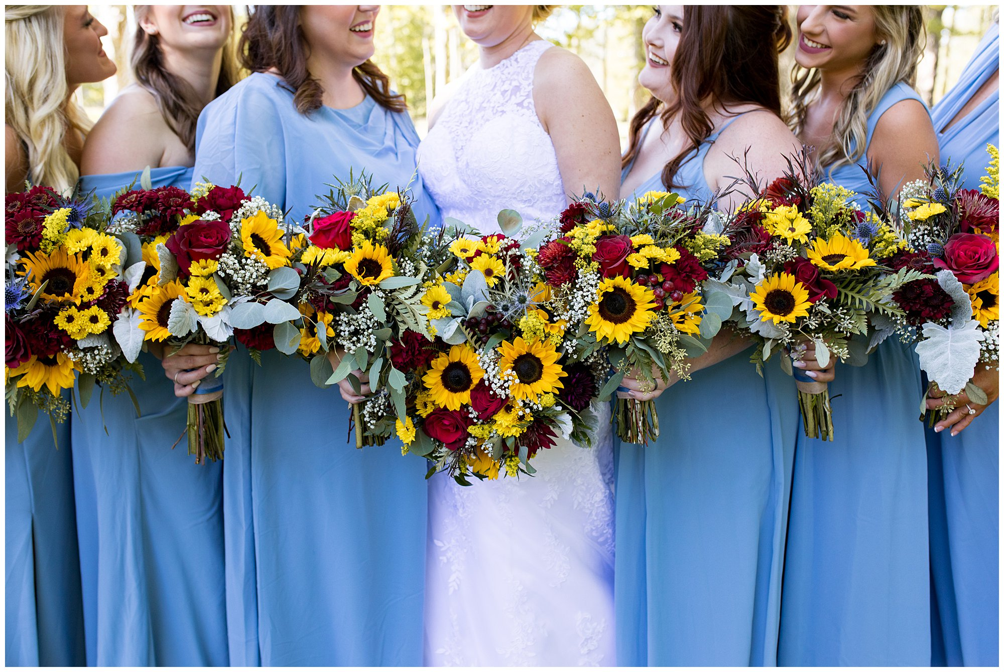 bride and bridesmaids with bouquets from Jefferson House of Flowers in Kokomo Indiana