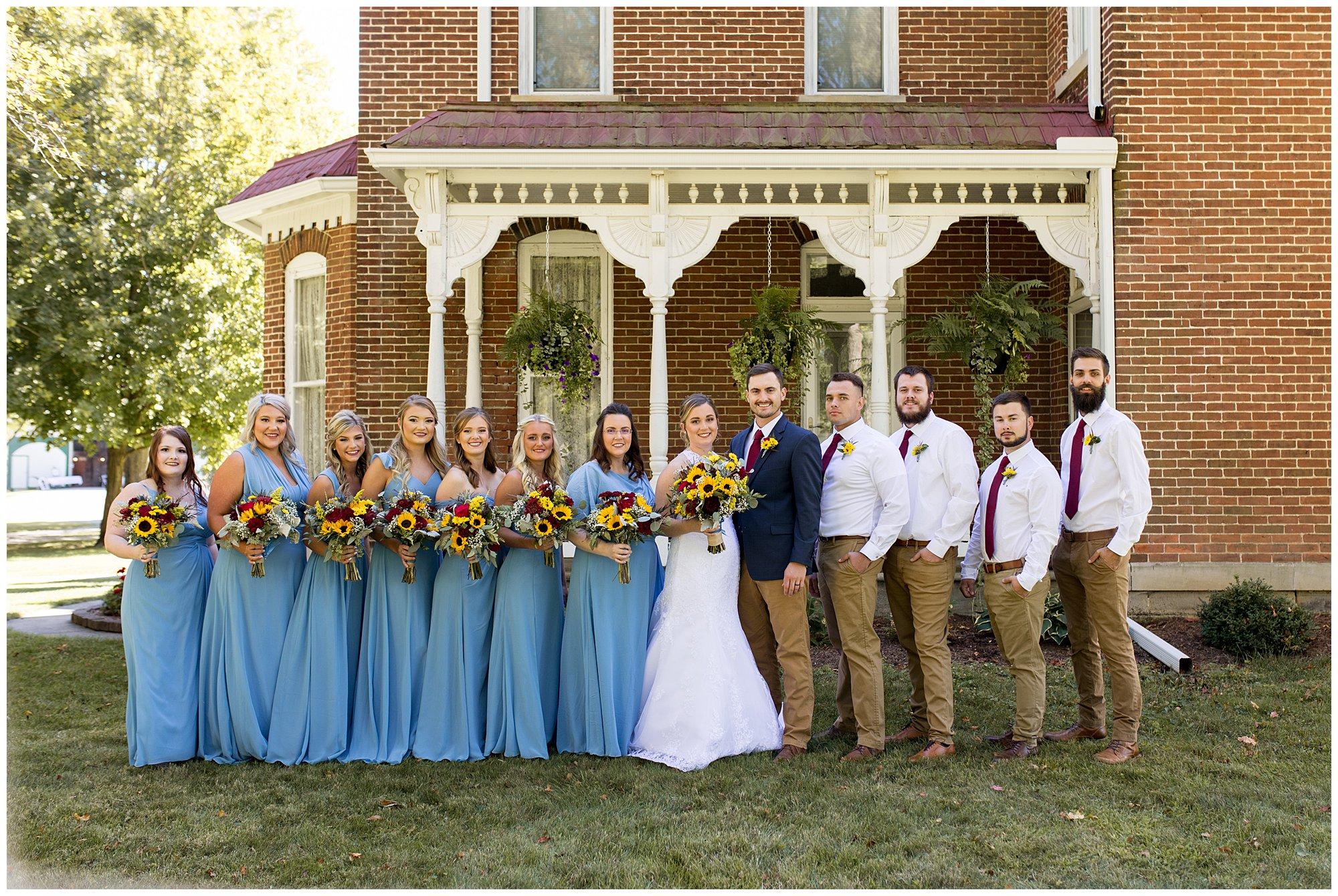 bridal party at Legacy Barn wedding venue in Kokomo Indiana